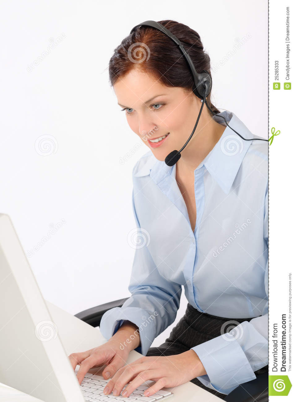 Friendly Help Desk Woman Typing Computer Stock Image ...
