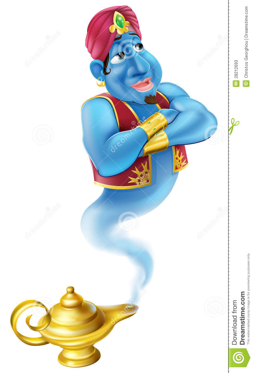 Illustration of a friendly Jinn or genie coming out of a gold magic ... School Desk Background