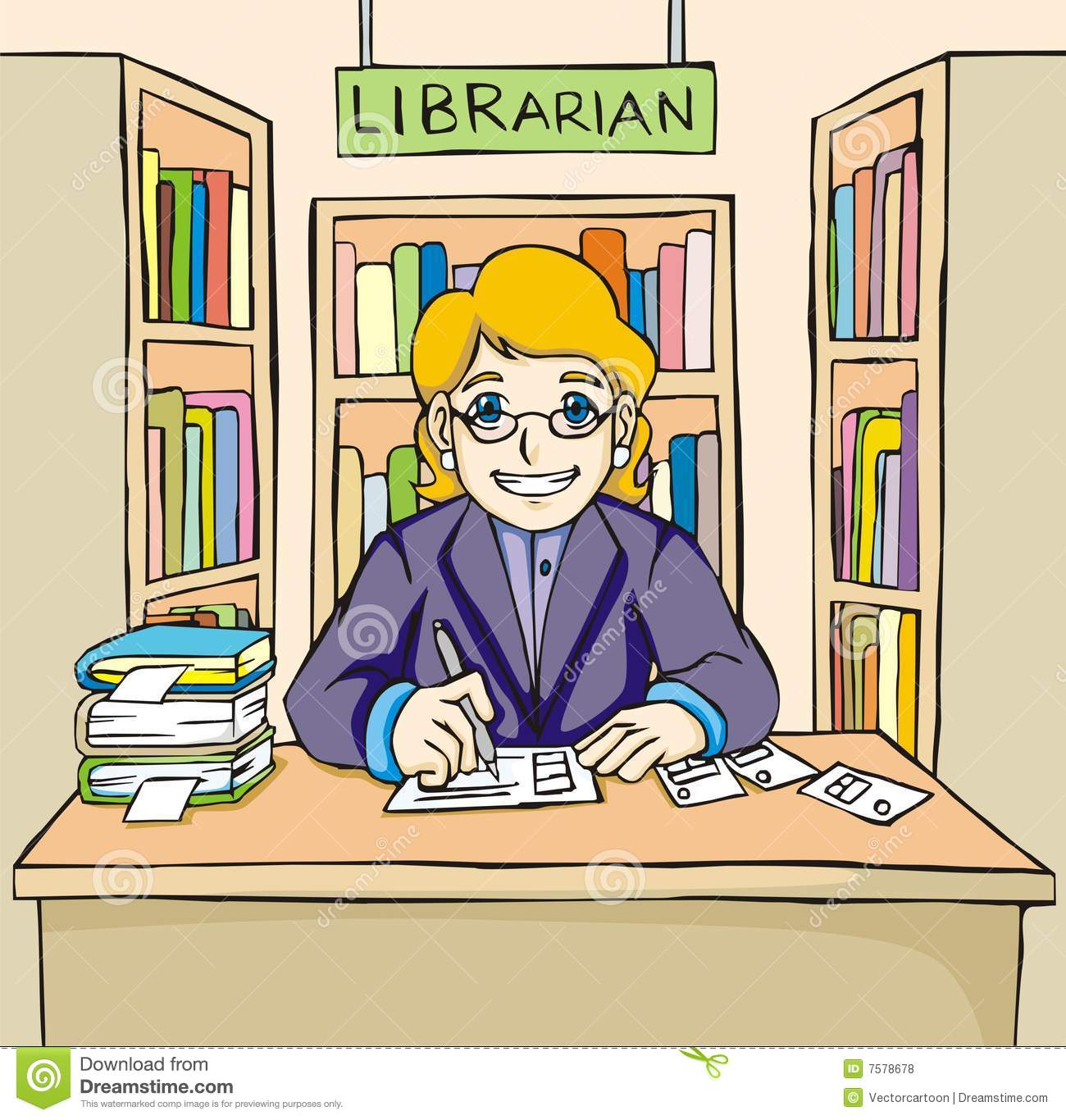 friendly and smiling librarian illustration, with colorful books in ...