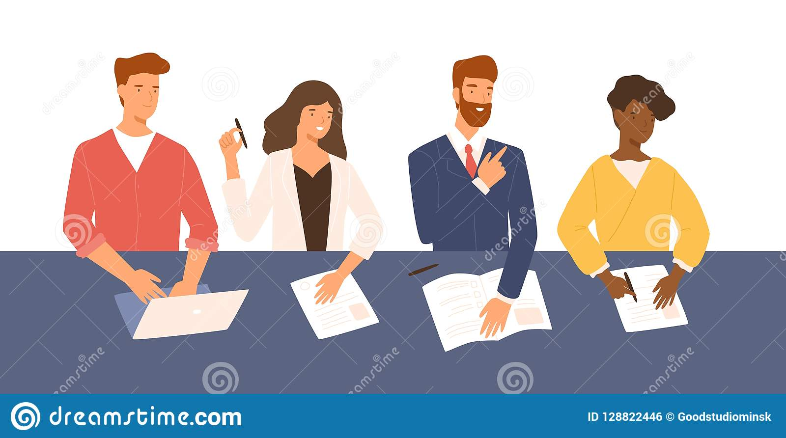 Friendly men and women sitting at table, holding CV and asking questions during job interview. Smiling HR, hiring or