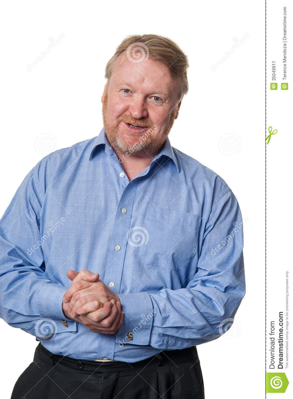 Friendly Middle Aged Bearded Guy In Blue Shirt On White