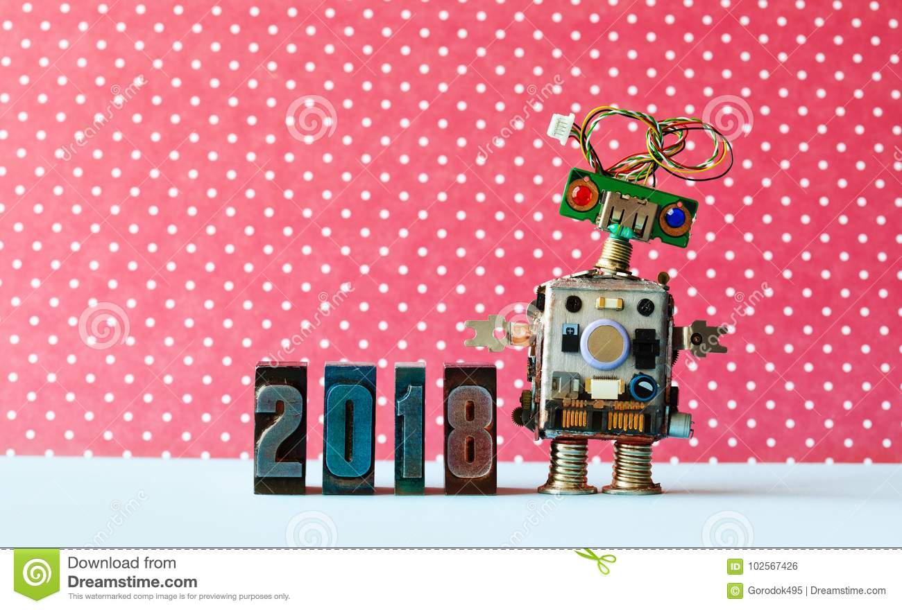 Friendly robot 2018 letterpres digits, red dot background pattern. Creative design new year xmas poster.