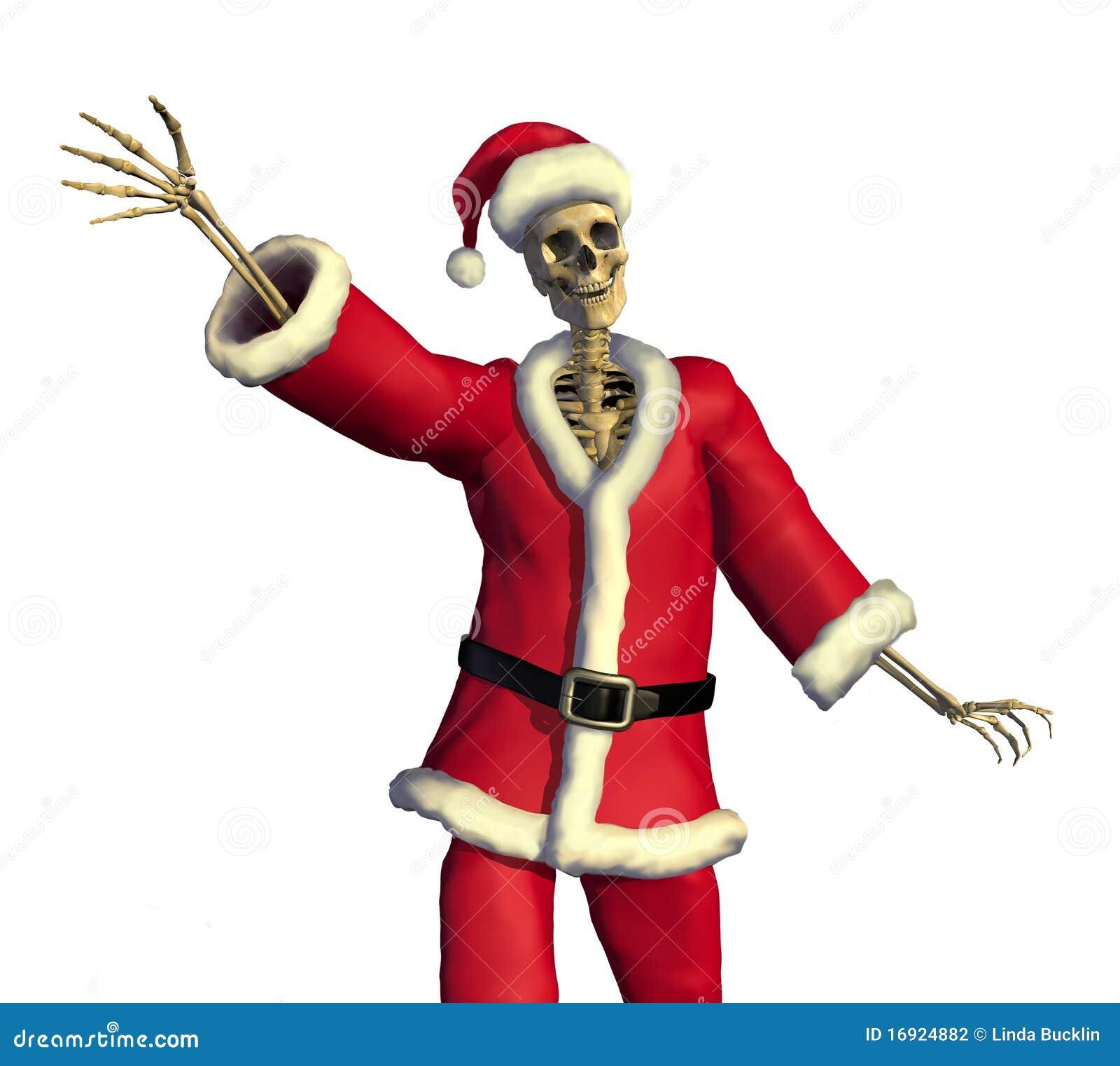 Christmas Skeleton.Friendly Skeleton Santa Stock Illustration Illustration Of