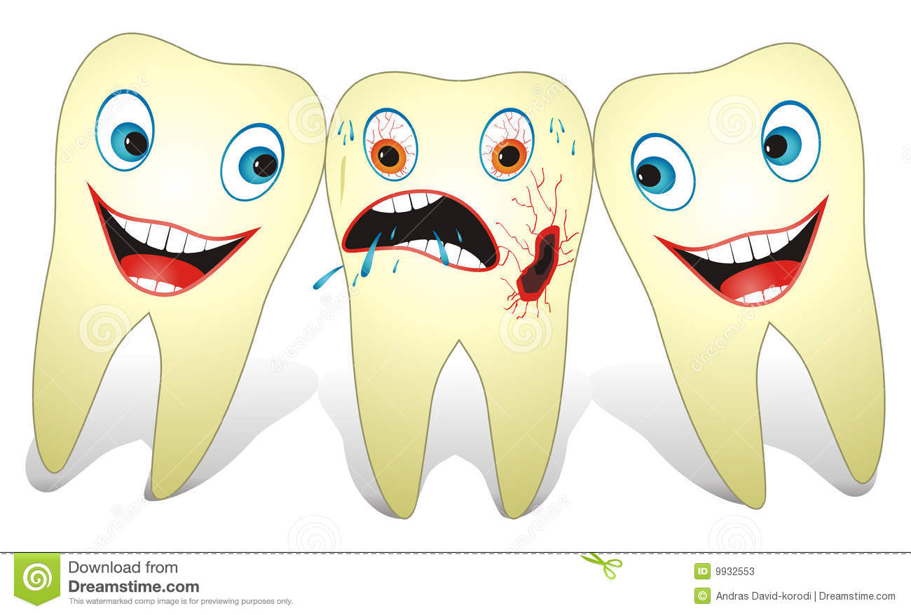 Cartoon illustration from teeth care concept, two healthy teeth and ...