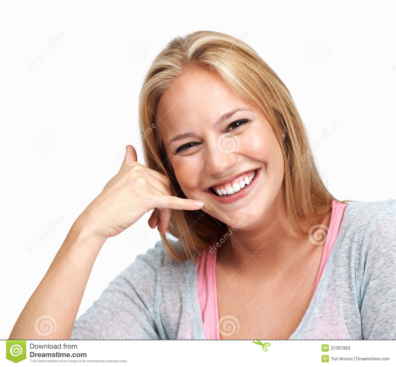 Friendly Woman Making Call Me Gesture Stock Image - Image ...