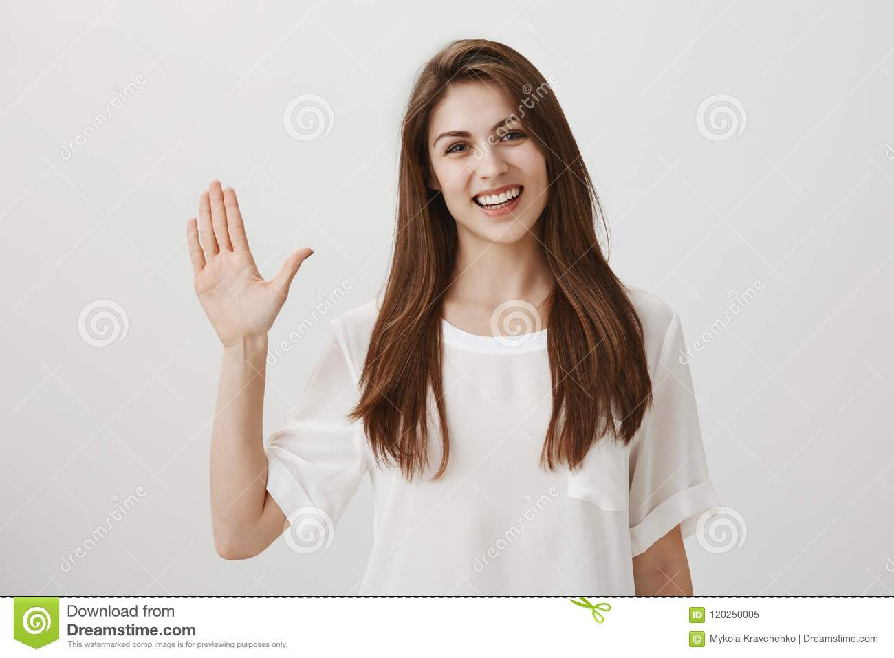 ccdf8c9de05 Friendly Woman Says Hi To New Neighbours. Portrait Of Charming Young ...