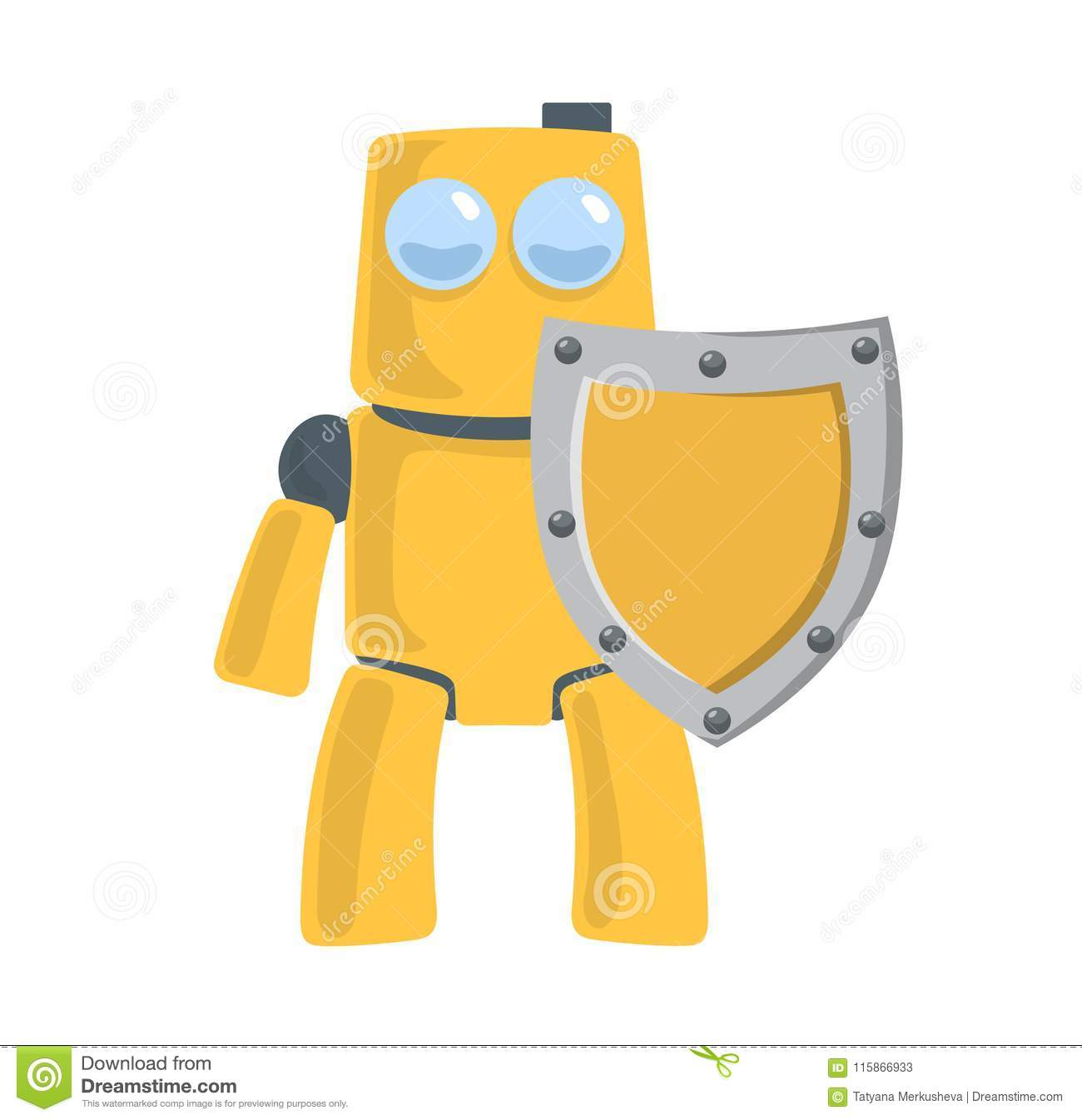 Friendly yellow robot with the shield. Robot protector. Toy character. Flat vector illustration. Isolated on white