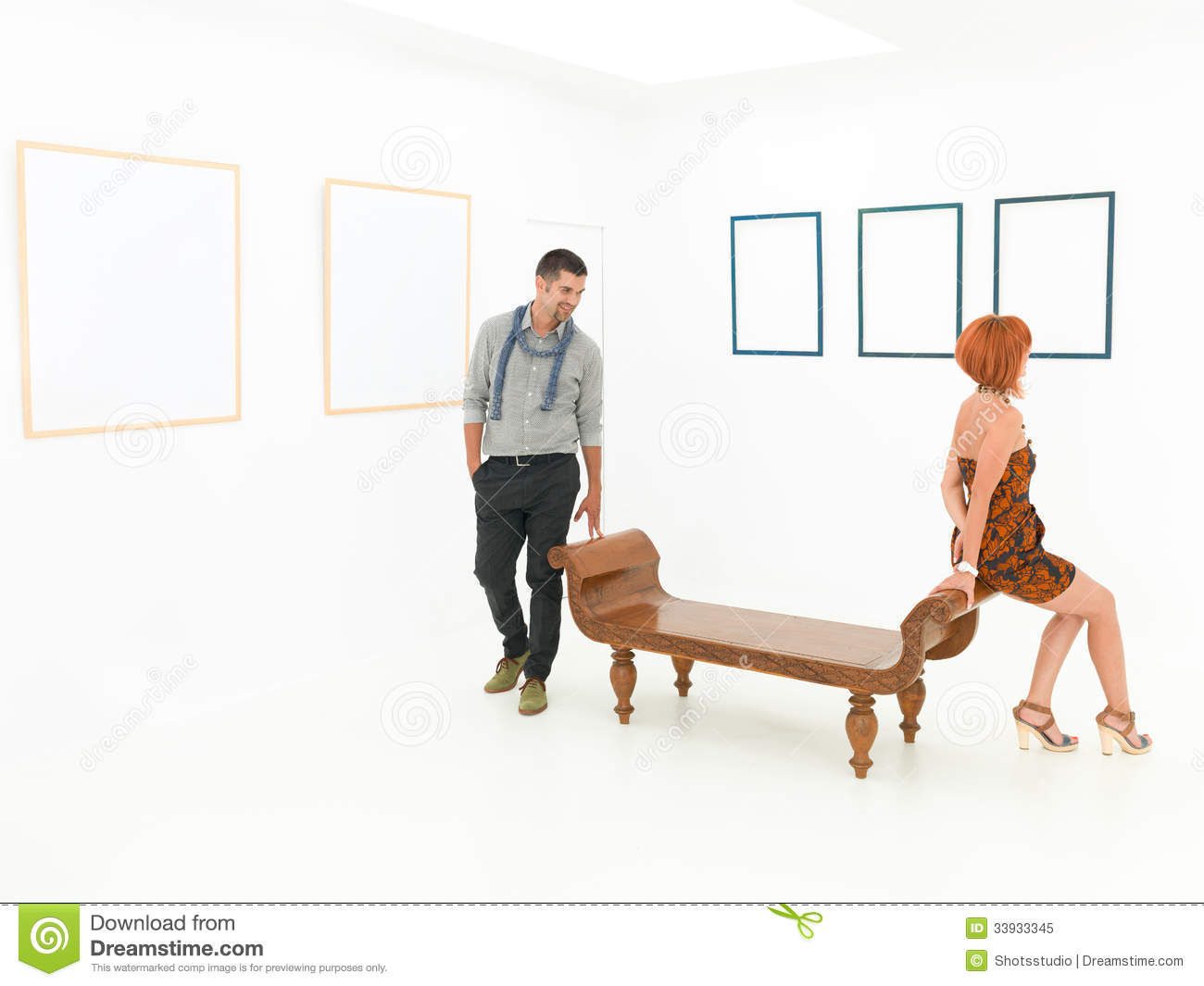 Royalty Free Stock Photo Friends Art Exhibition Two Caucasian People S...