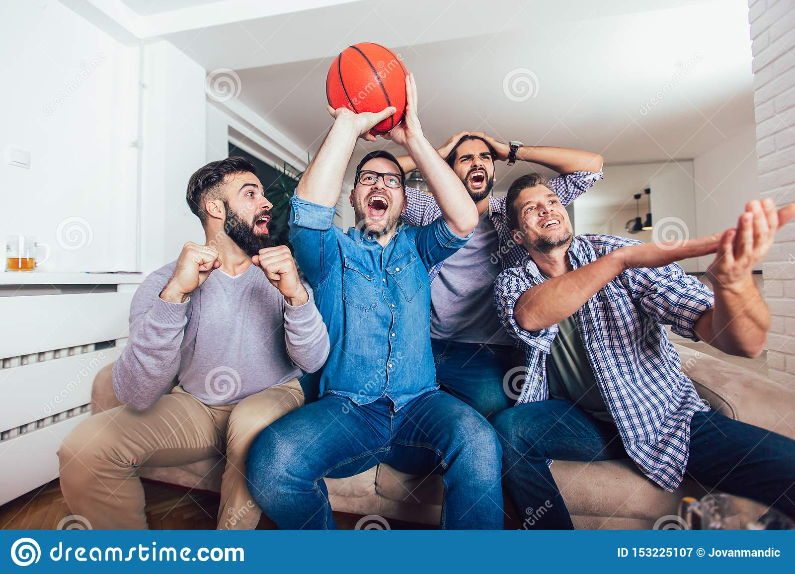 Friends Or Basketball Fans Watching Basketball Game On Tv And Celebrating Victory At Home Friendship Sports And Stock Image Image Of Lifestyle Homefriendship 153225107