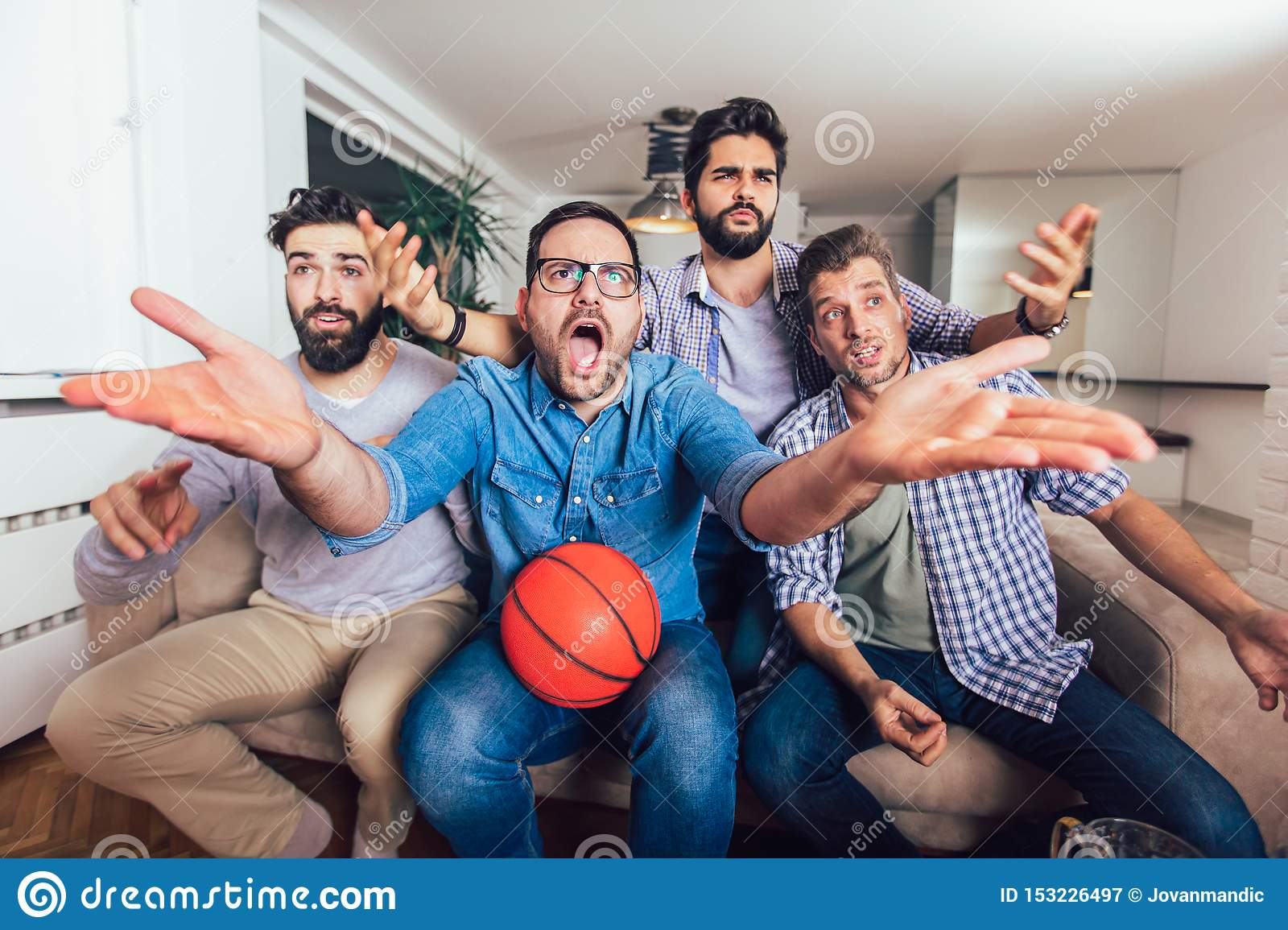 Friends Or Basketball Fans Watching Basketball Game On Tv And Celebrating Victory At Home Friendship Sports And Stock Image Image Of House Beer 153226497