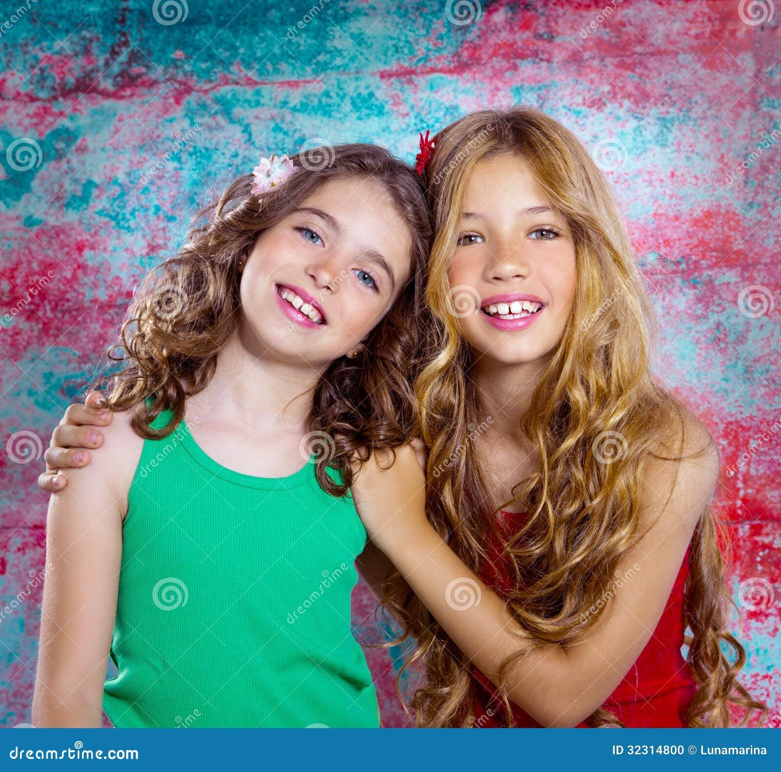 Friends Beautiful Children Girls Hug Together Happy ...