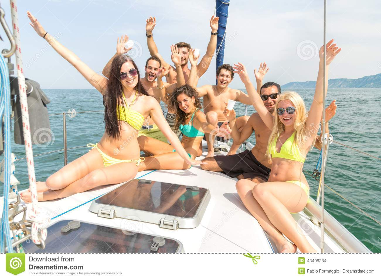 Download Friends On Boat Having Party Stock Photo - Image of ship, sail: 43406284
