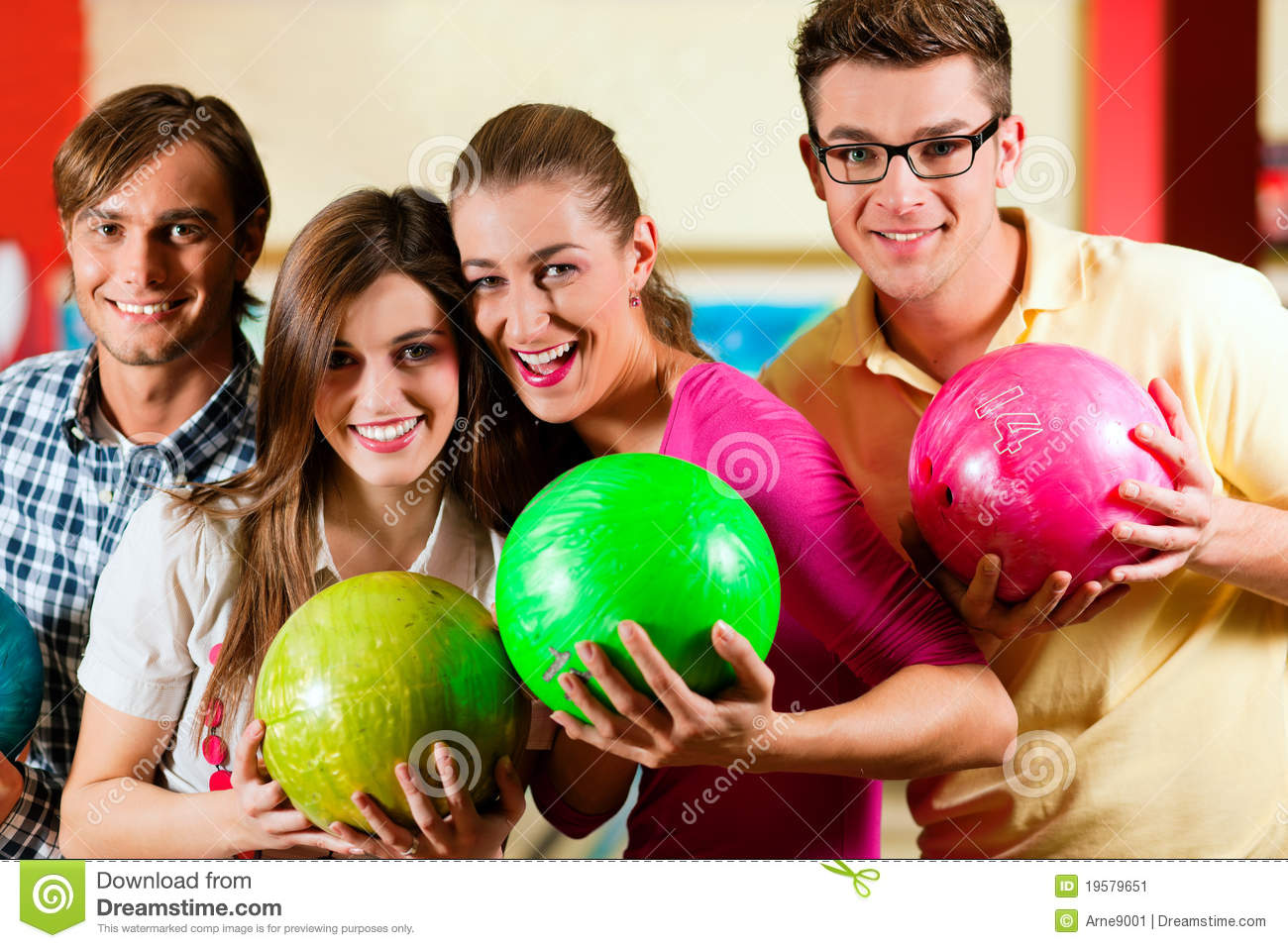 Friends bowling having fun stock image. Image of woman ...