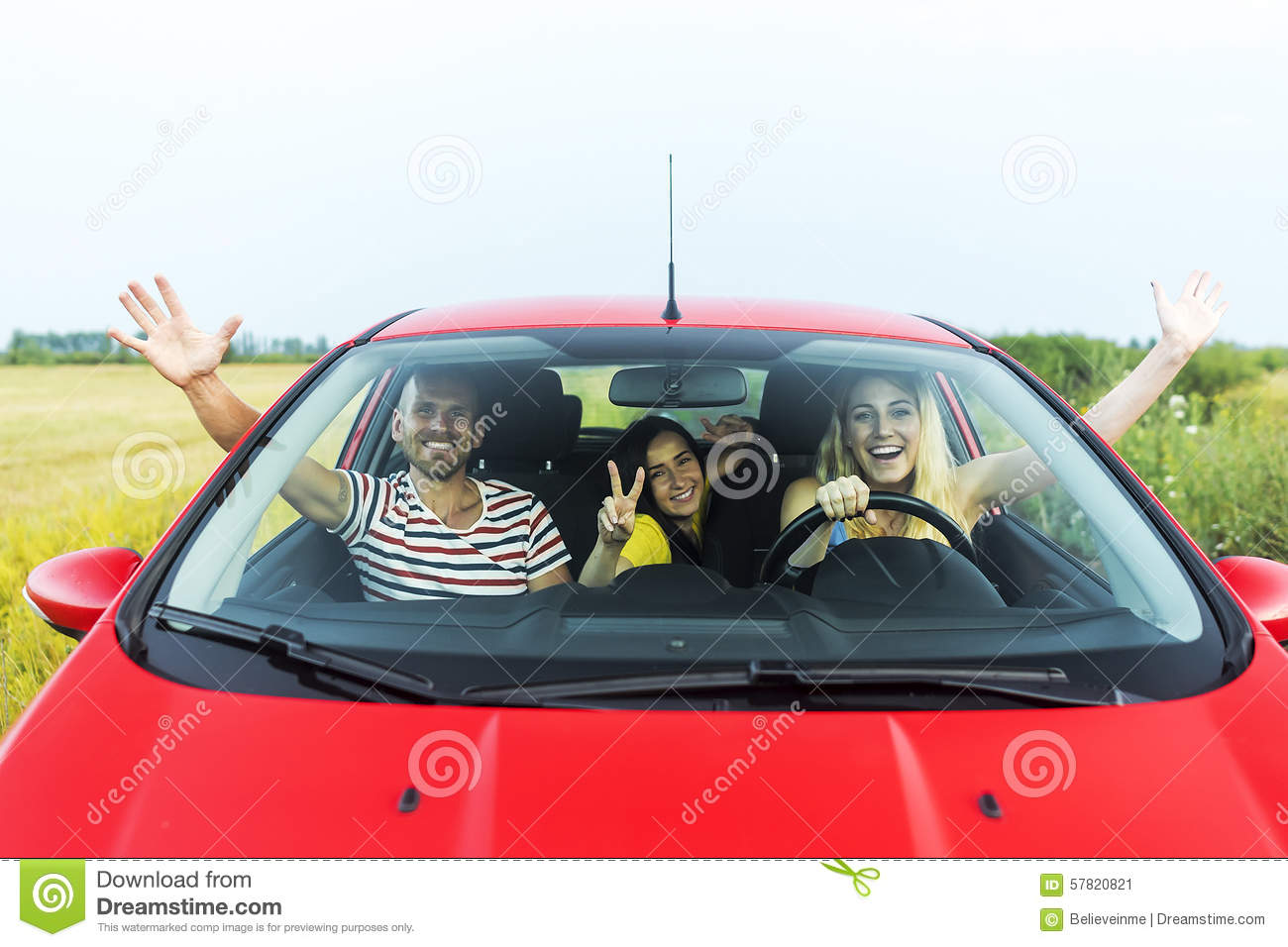 Friends In A Car Stock Image Image Of Ride Raising