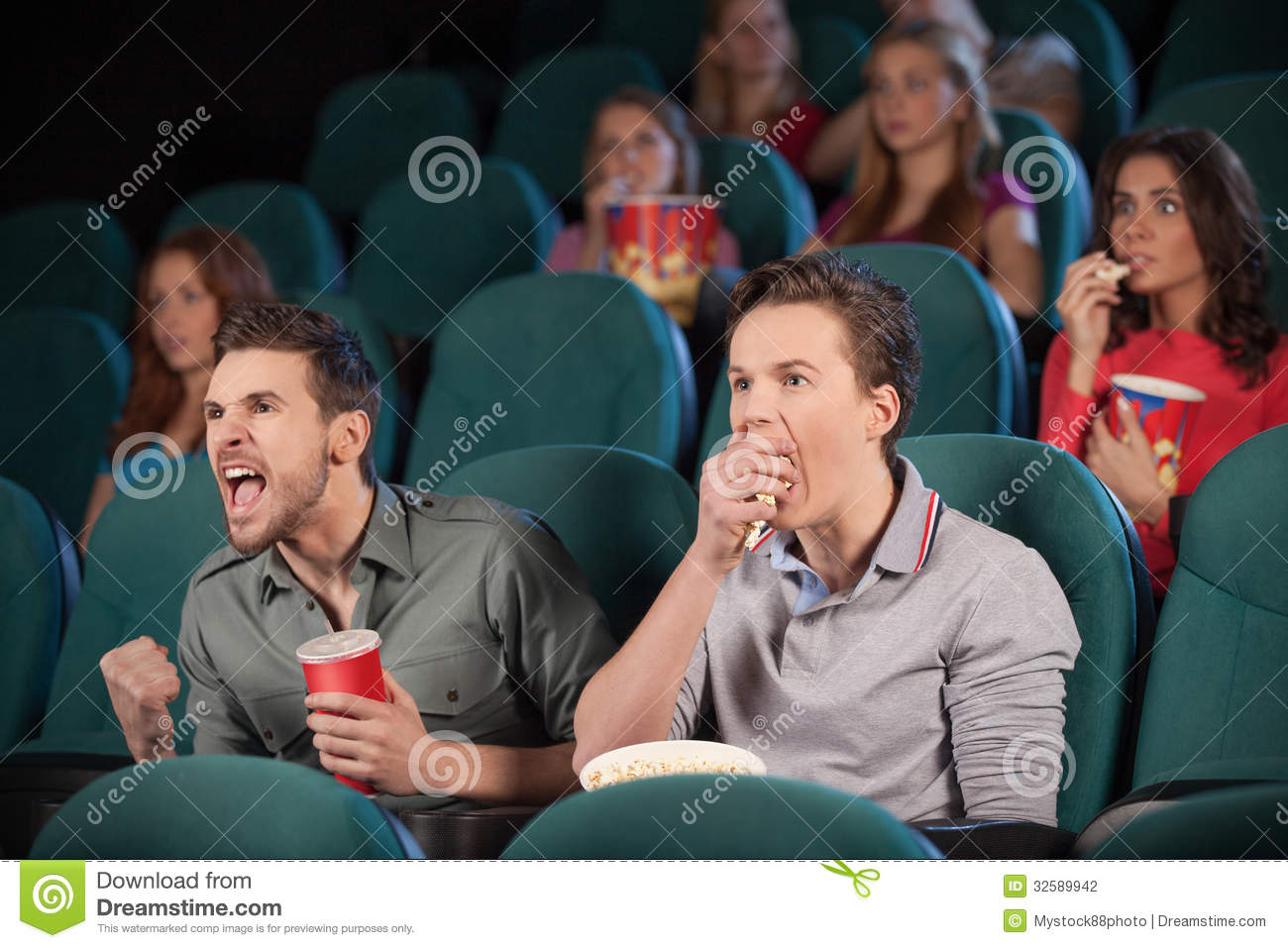 Friends in cinema stock photography image 32589942 for People watching