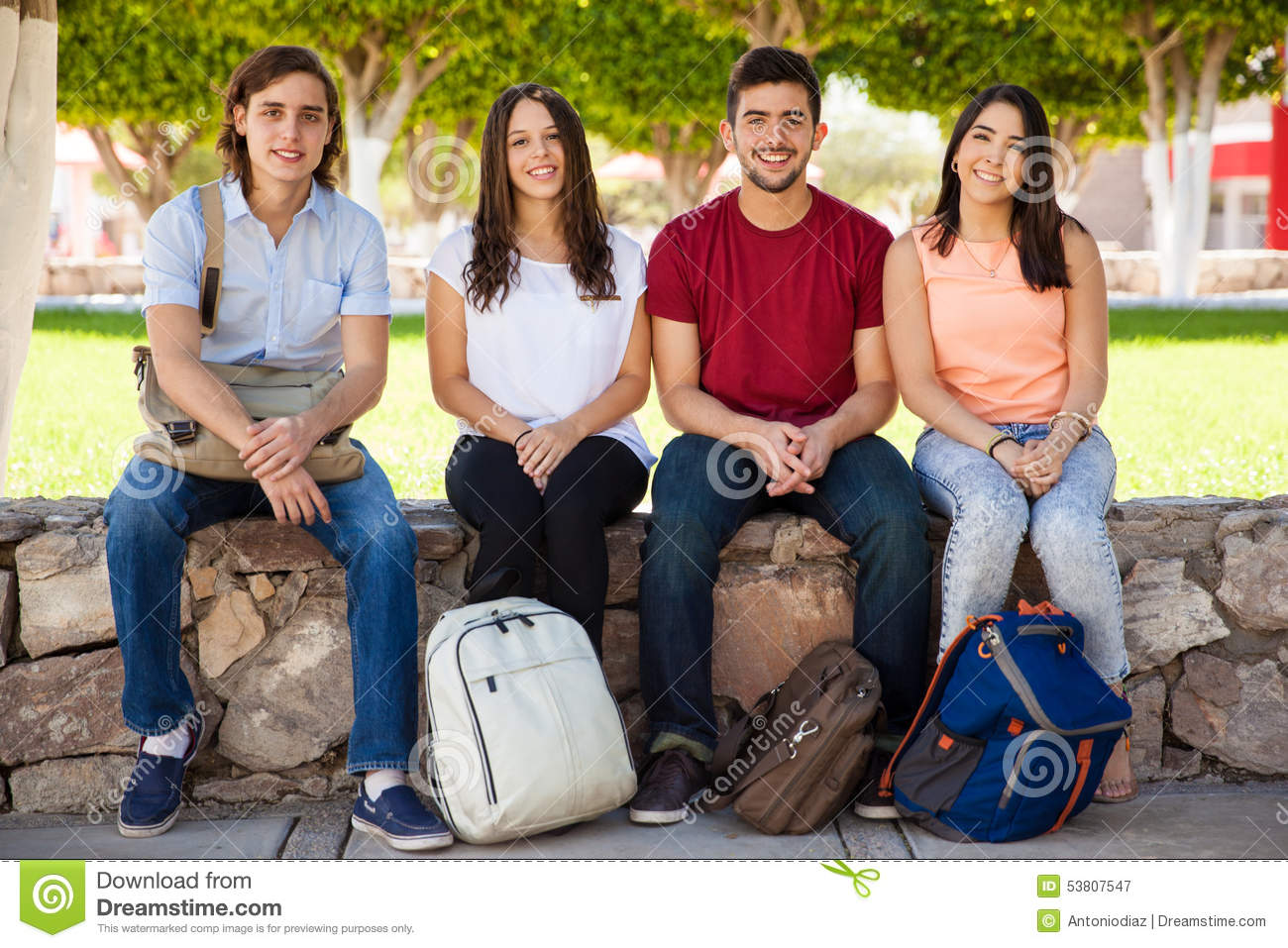 Friends in college hanging out stock photo image 53807547 for Hanging groups of pictures