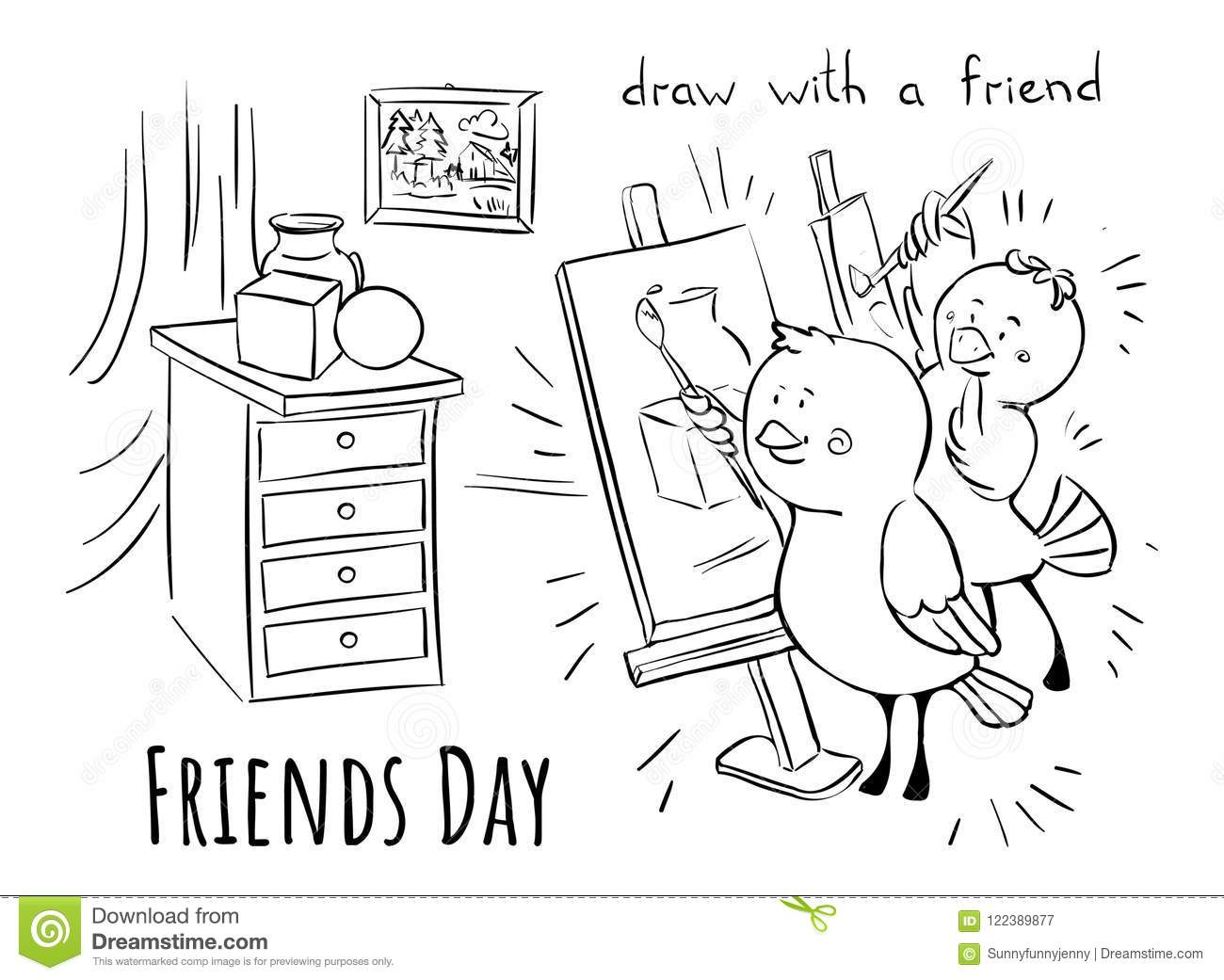 Friends Day Learn To Draw With Friend Stock Vector Illustration