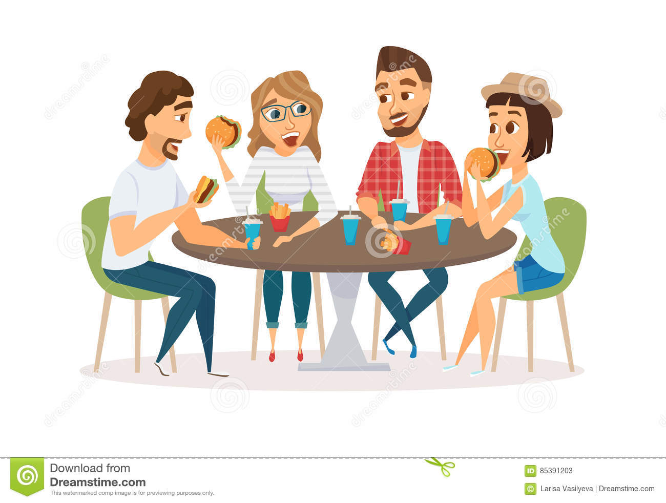 Friends Eating And Drinking Gathering Clipart