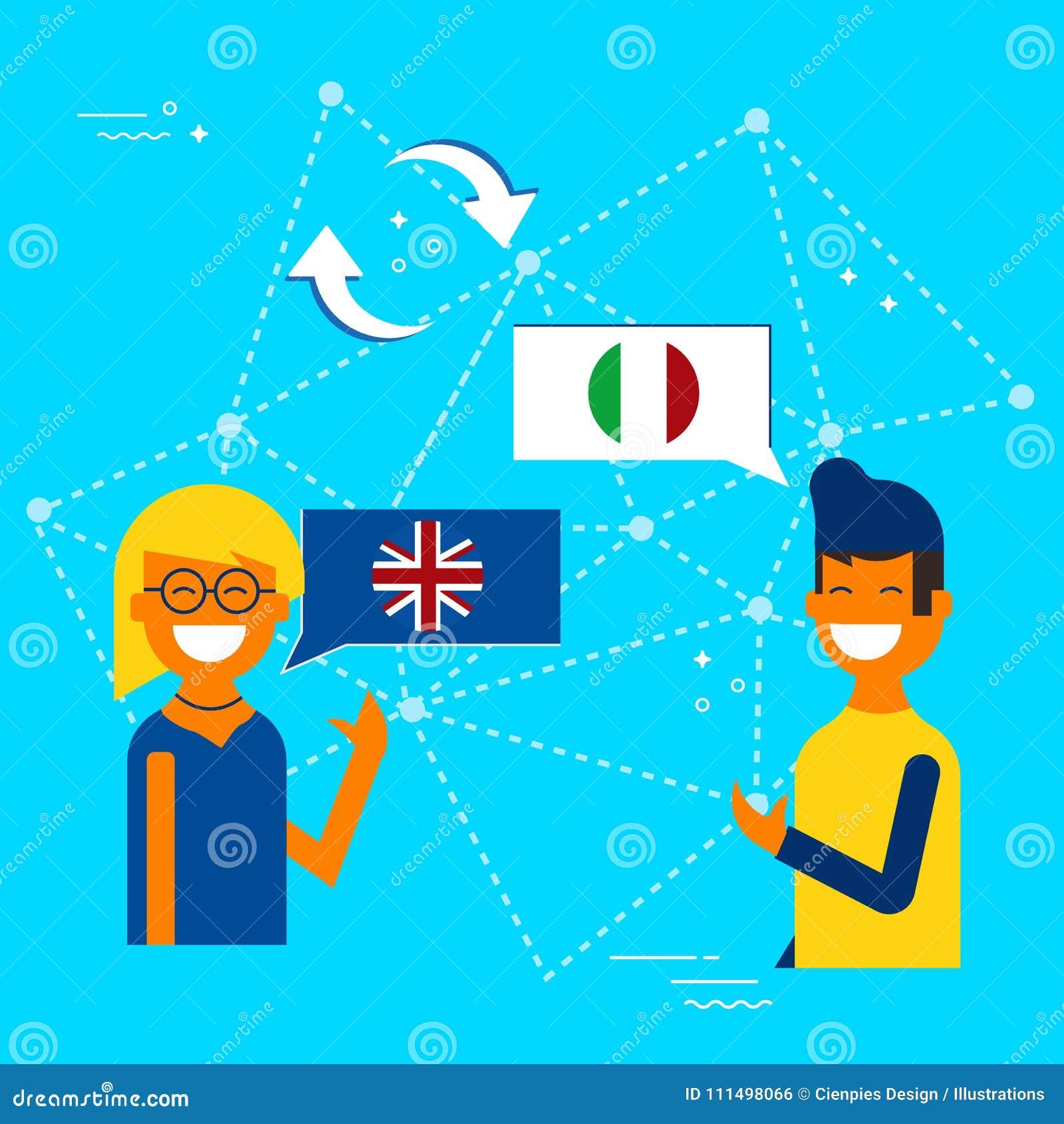 Italian To English Translation Online: Italian And English Online Chat Translation Stock Vector