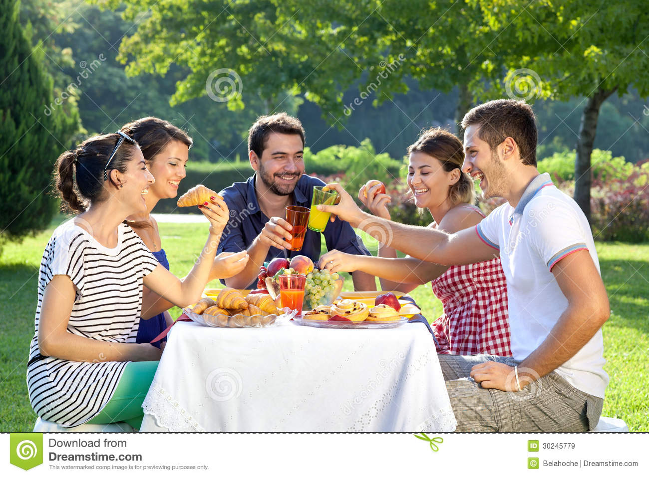 Friends Enjoying A Relaxing Picnic Royalty Free Stock Images - Image ...