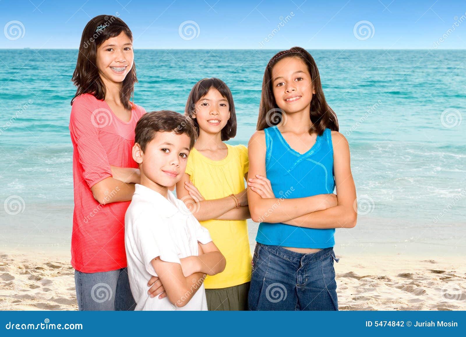 Friends Enjoying The Sandy Beach Stock Photography - Image ...
