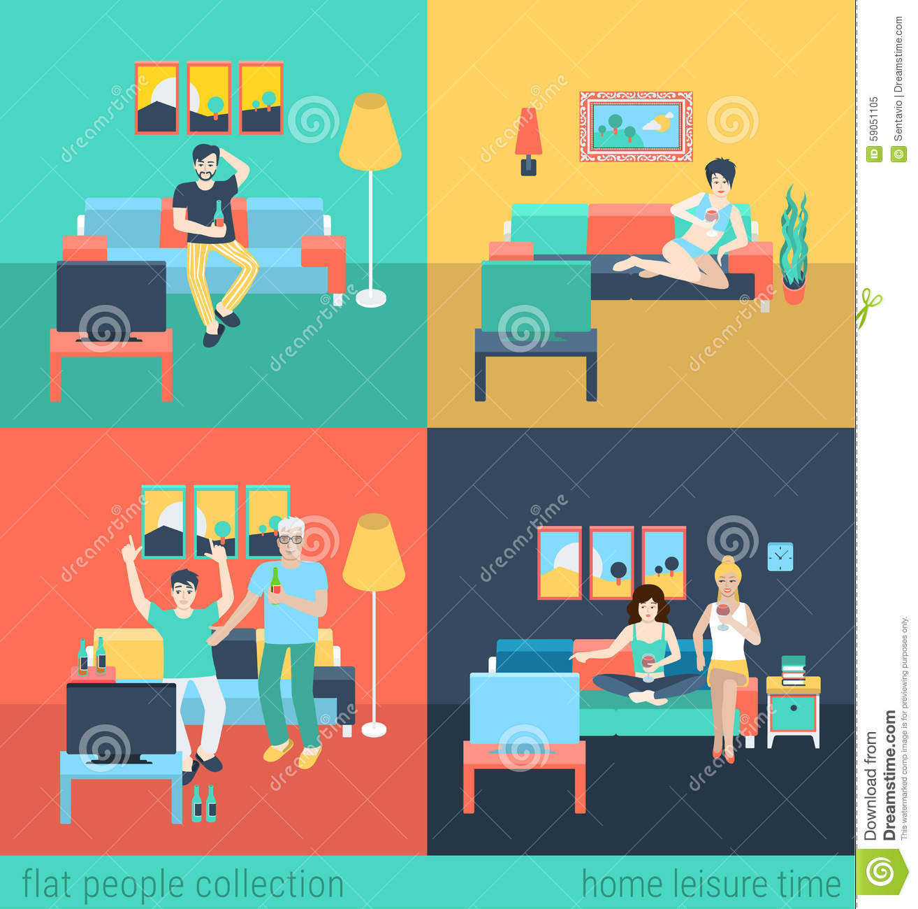 Friends And Family Watch TV - Home Furniture Flat Vector