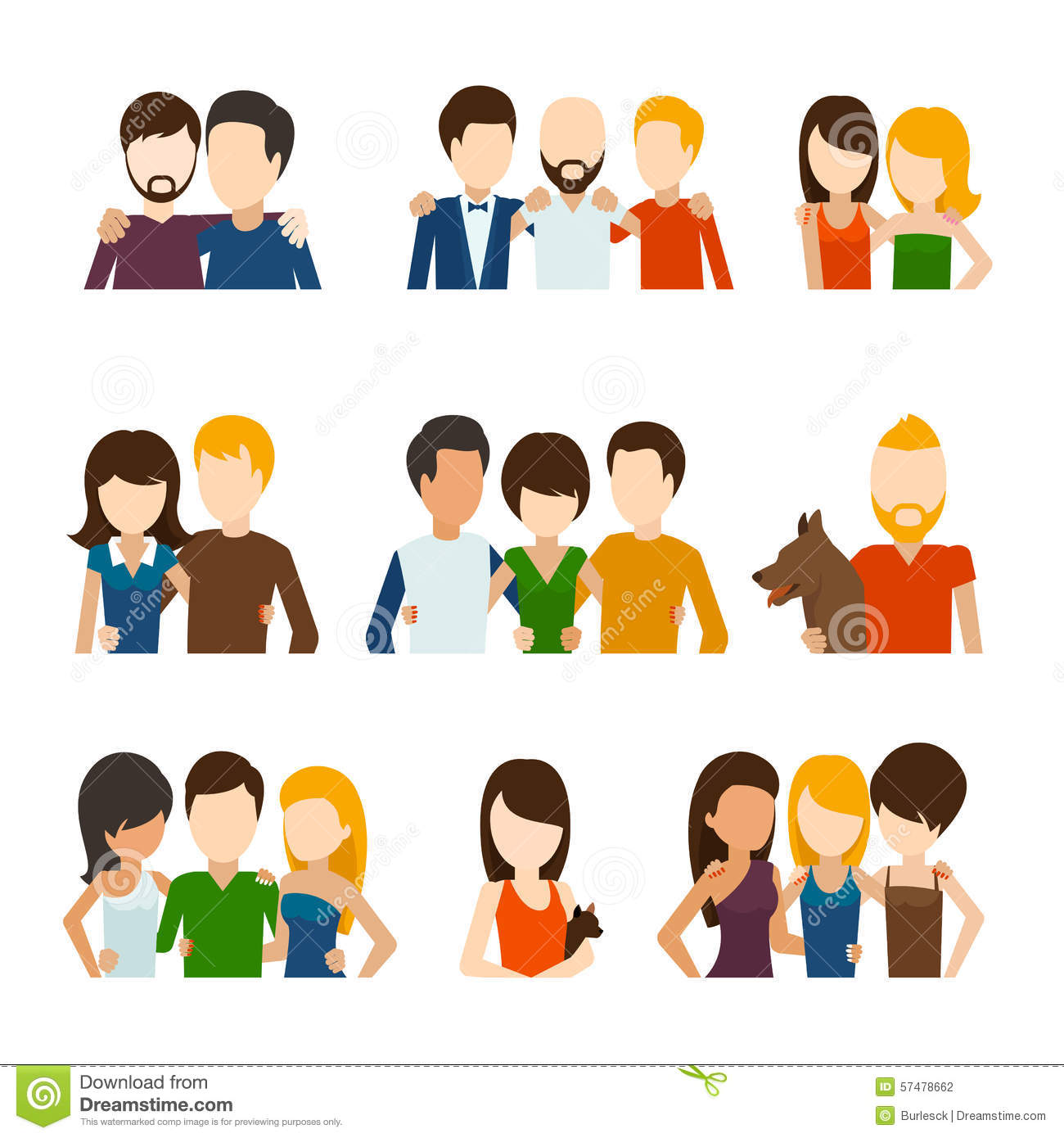 Friends and friendly relations flat icons stock vector for Relation sociale