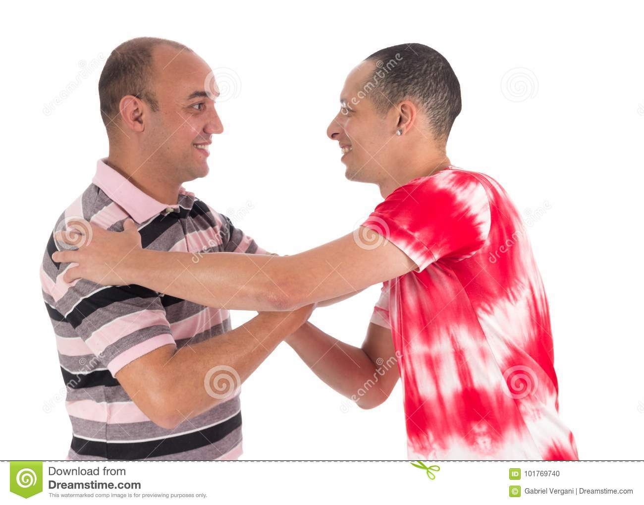Friends greet each other warmly handshake white background stock royalty free stock photo m4hsunfo