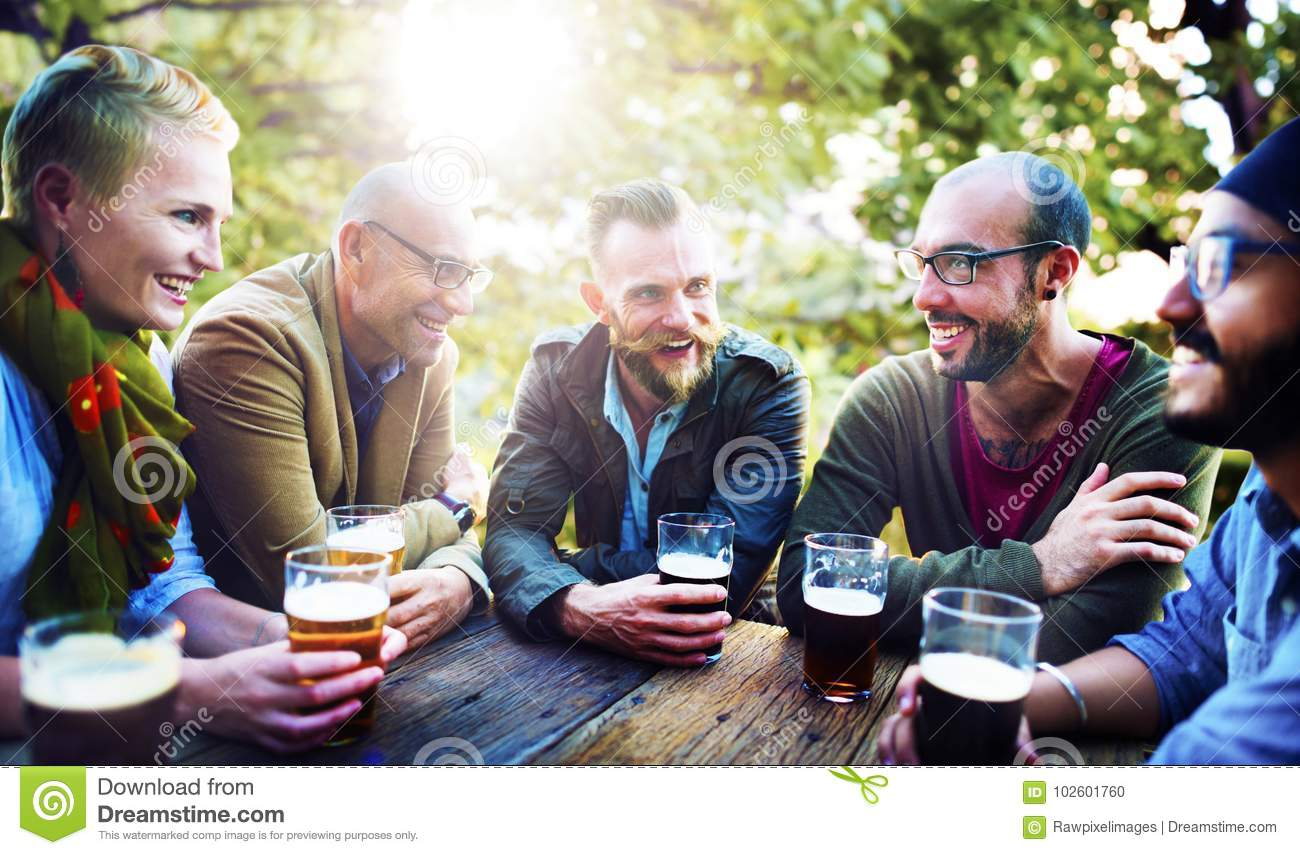 Friends having beers diversity outdoor