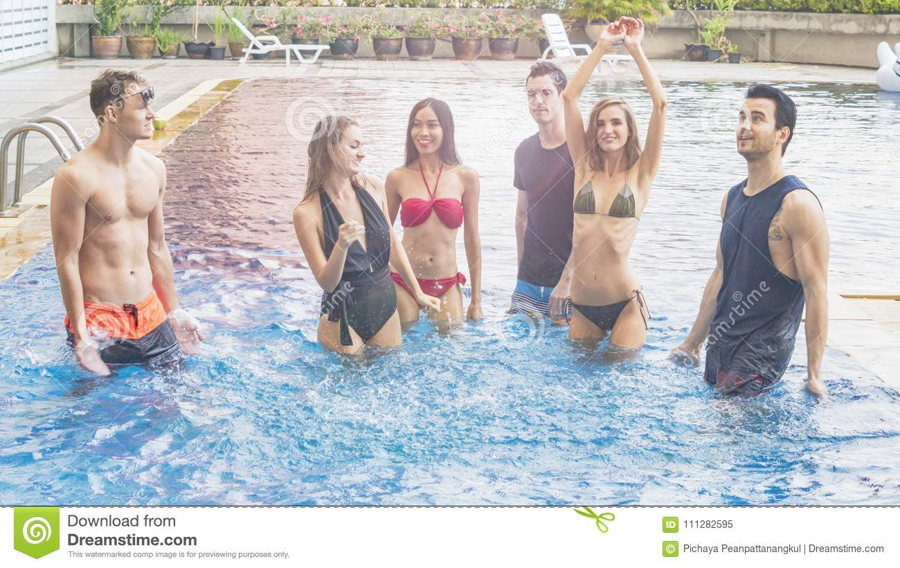 aff72f475941f The friends having party and dancing in a swimming pool - Fashion of underwear  summer beach bikini slim muscle women and men people enjoying vacation in a  ...