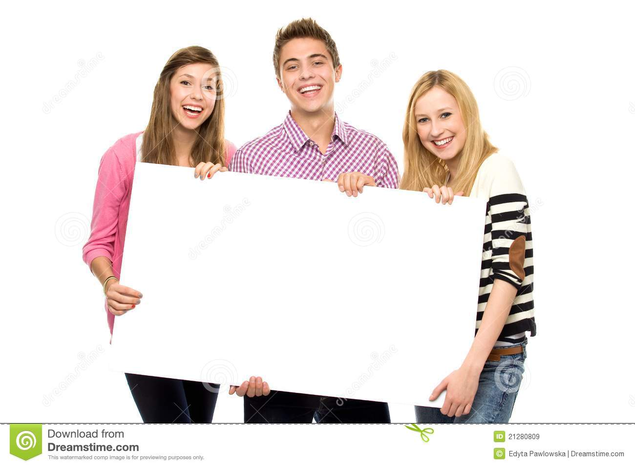 friends holding blank poster royalty free stock images