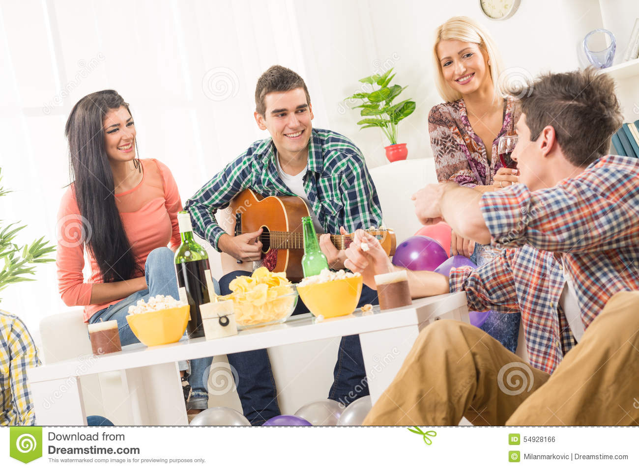 Friends At House Party Stock Photo - Image: 54928166