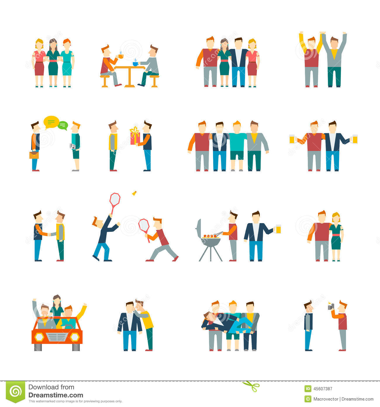 Friends icons flat stock vector image 45607387 for Relation sociale