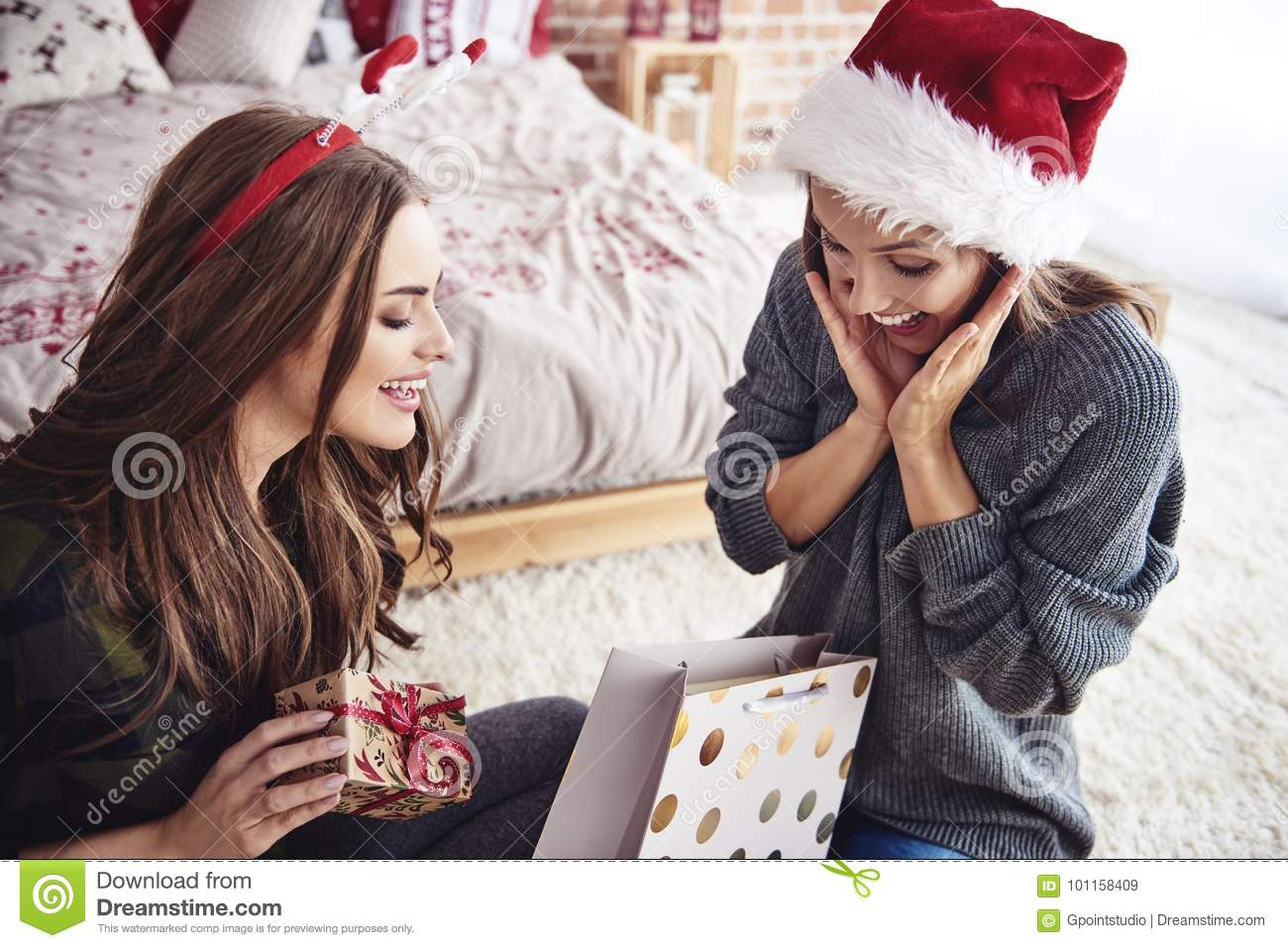 download best friends during christmas time stock image image of cheerful receiving 101158409 - Christmas Present For Best Friend