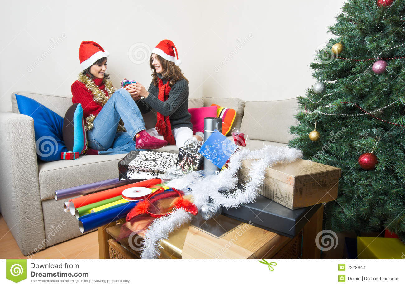 download friends openingpreparing christmas presents stock photo image of decoration merry