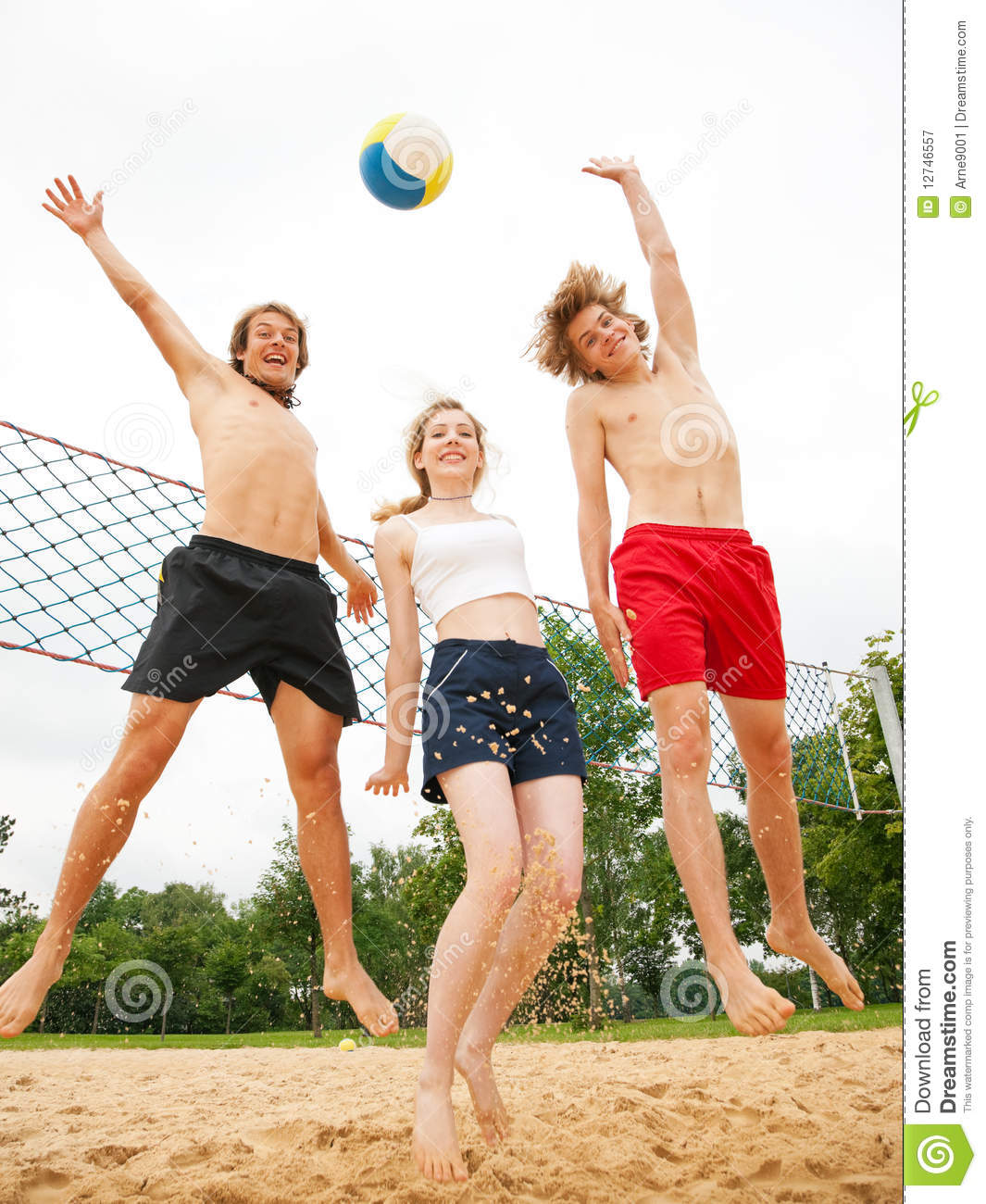 Friends Playing Beach Volleyball Royalty Free Stock ...