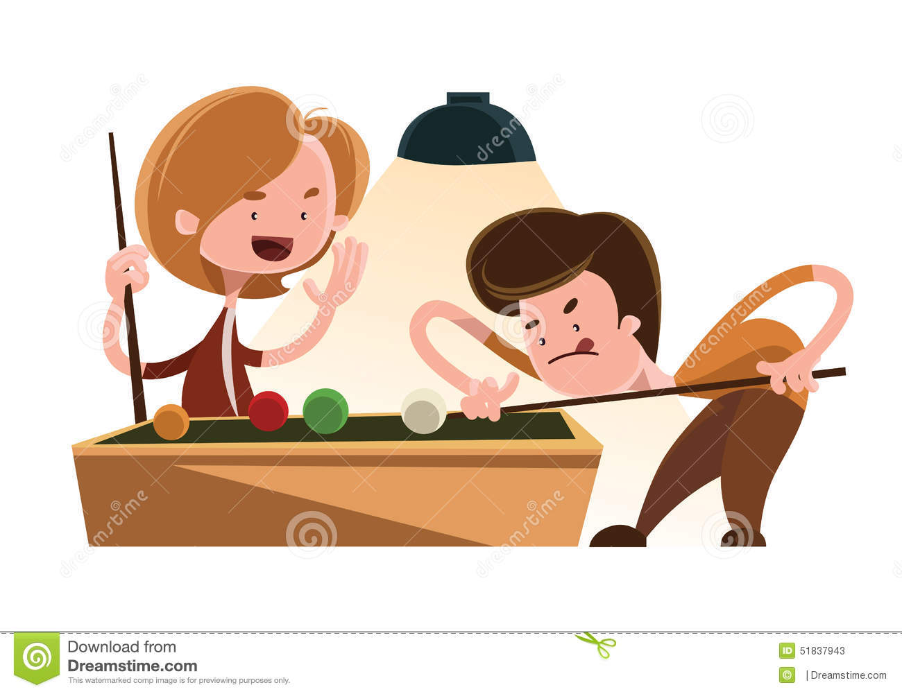 Friends Playing Pool Illustration Cartoon Character Stock Illustration ...