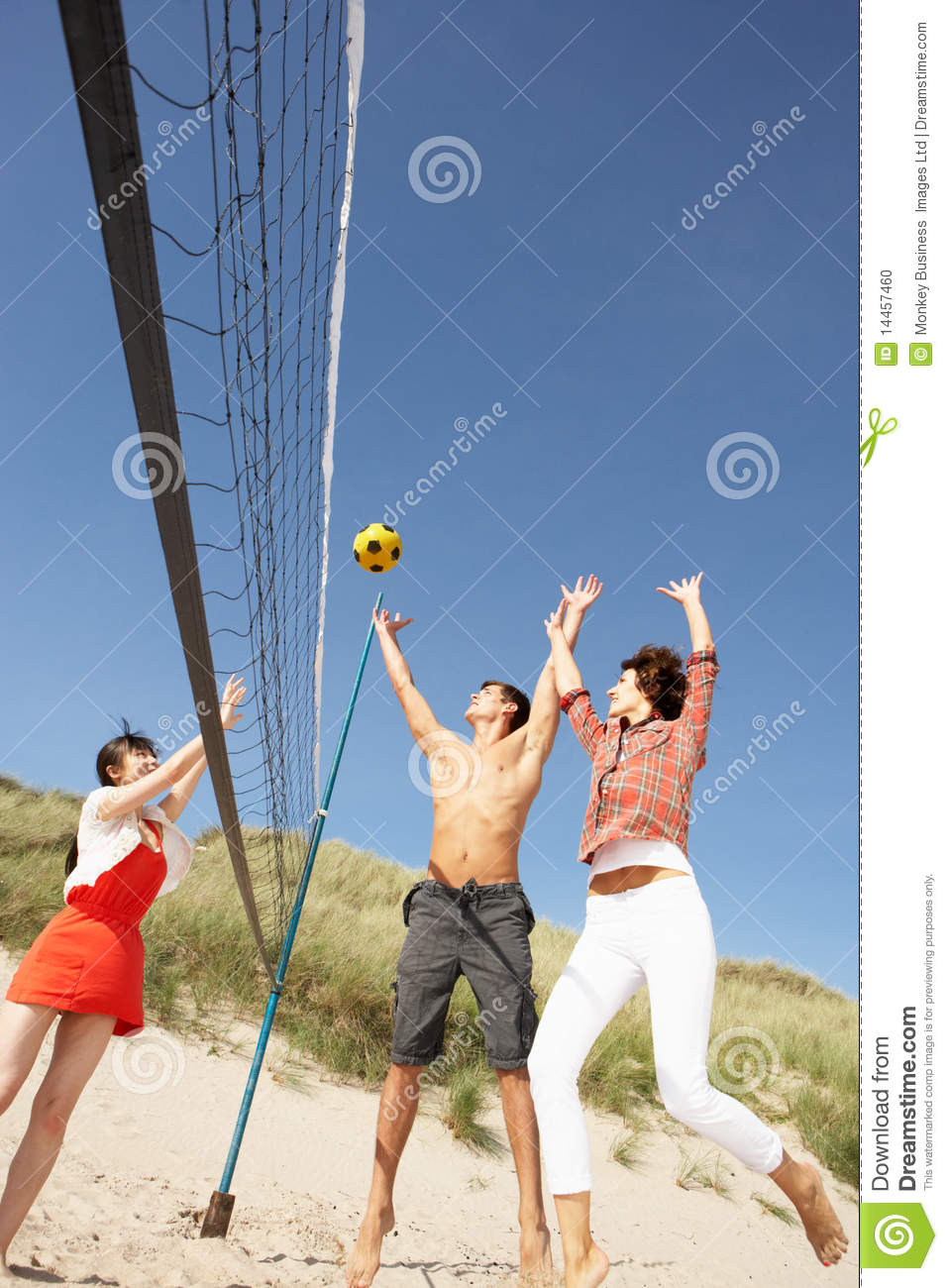 Friends Playing Volleyball On Beach Stock Photo - Image of ...