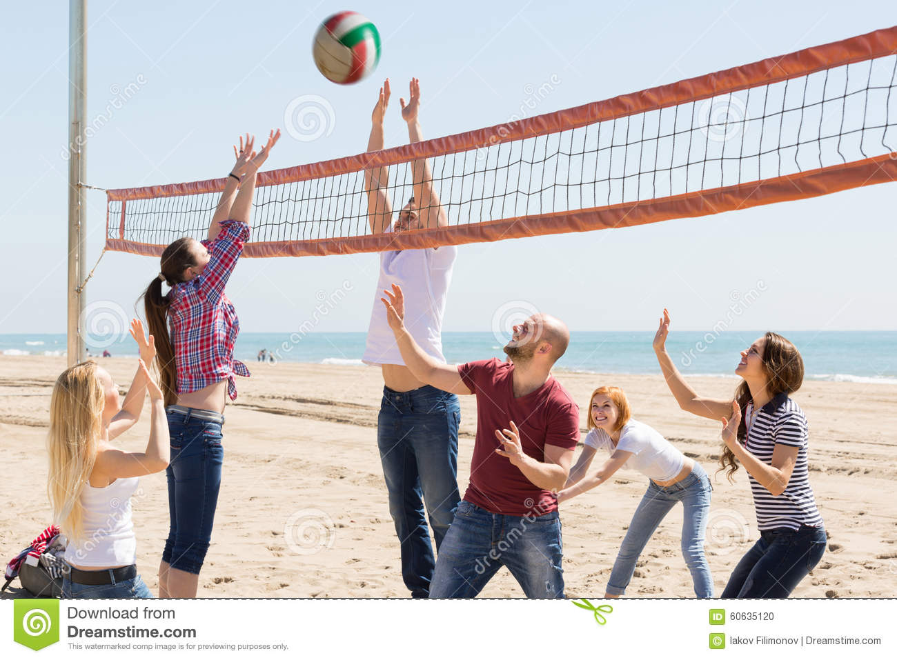 Friends Playing Volleyball At Beach Stock Photo - Image of ...