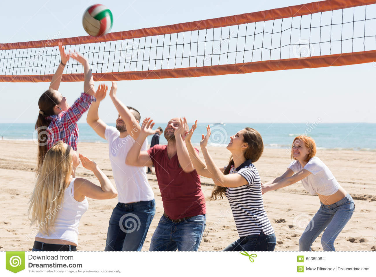 Friends Playing Volleyball At Beach Stock Photo - Image ...