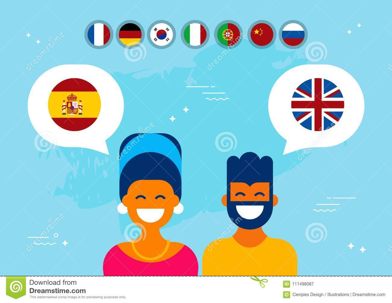Friends From Spain And England Social Media Chat Stock Vector