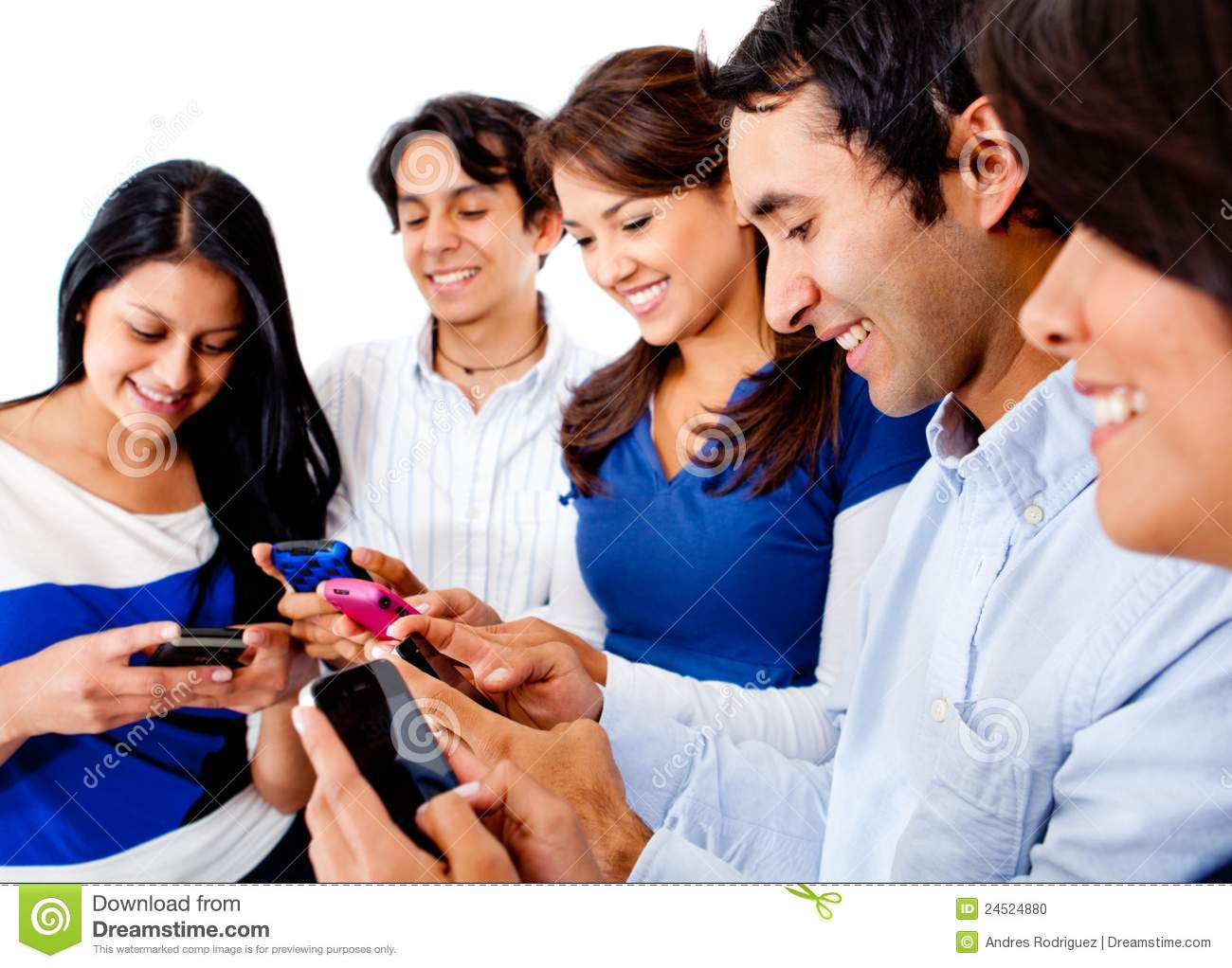 Friends text messaging stock photo. Image of phones, cell