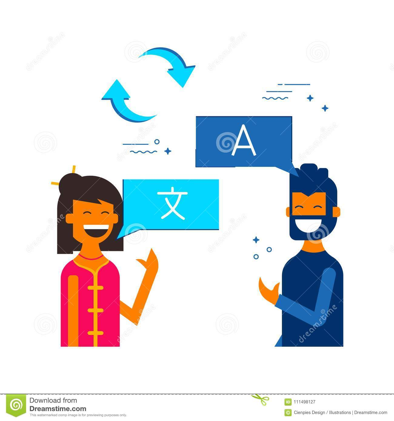 Friends Translating Online Social Media Chat Stock Vector
