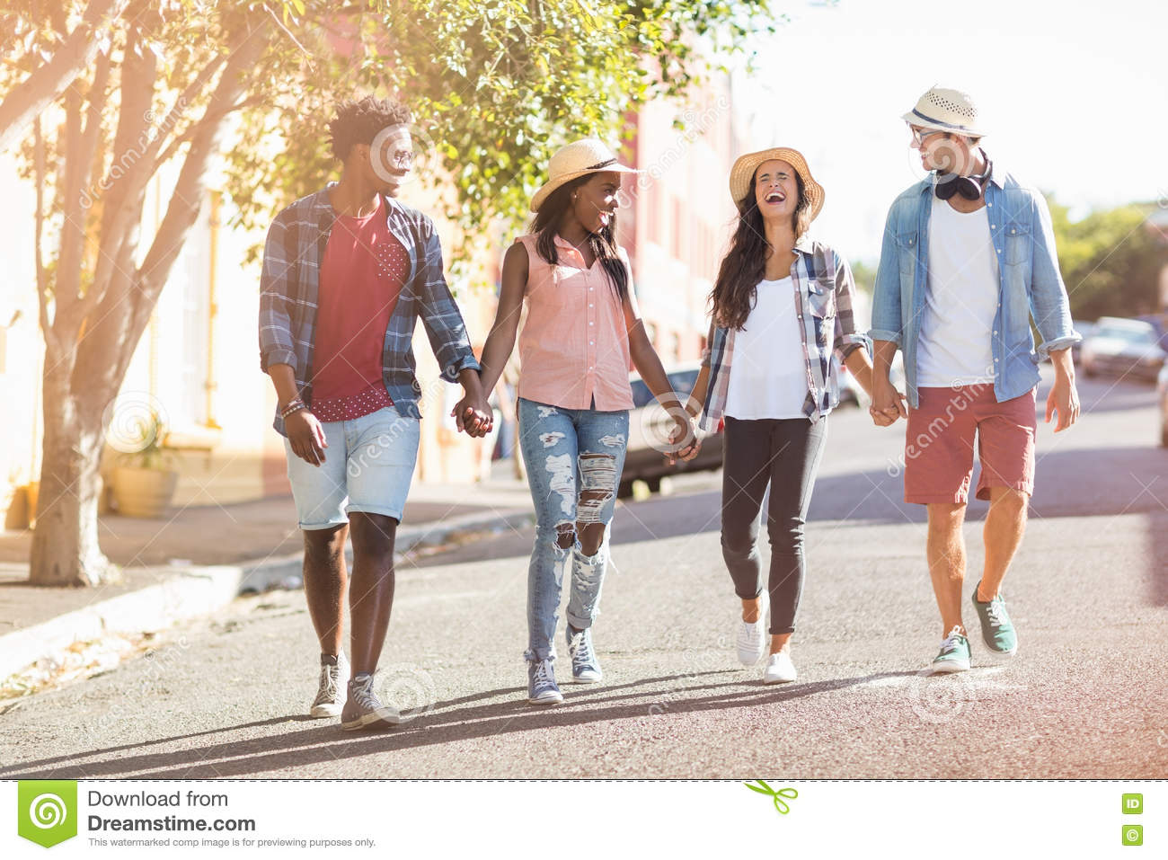 friends walking hand in hand stock image image of african cool