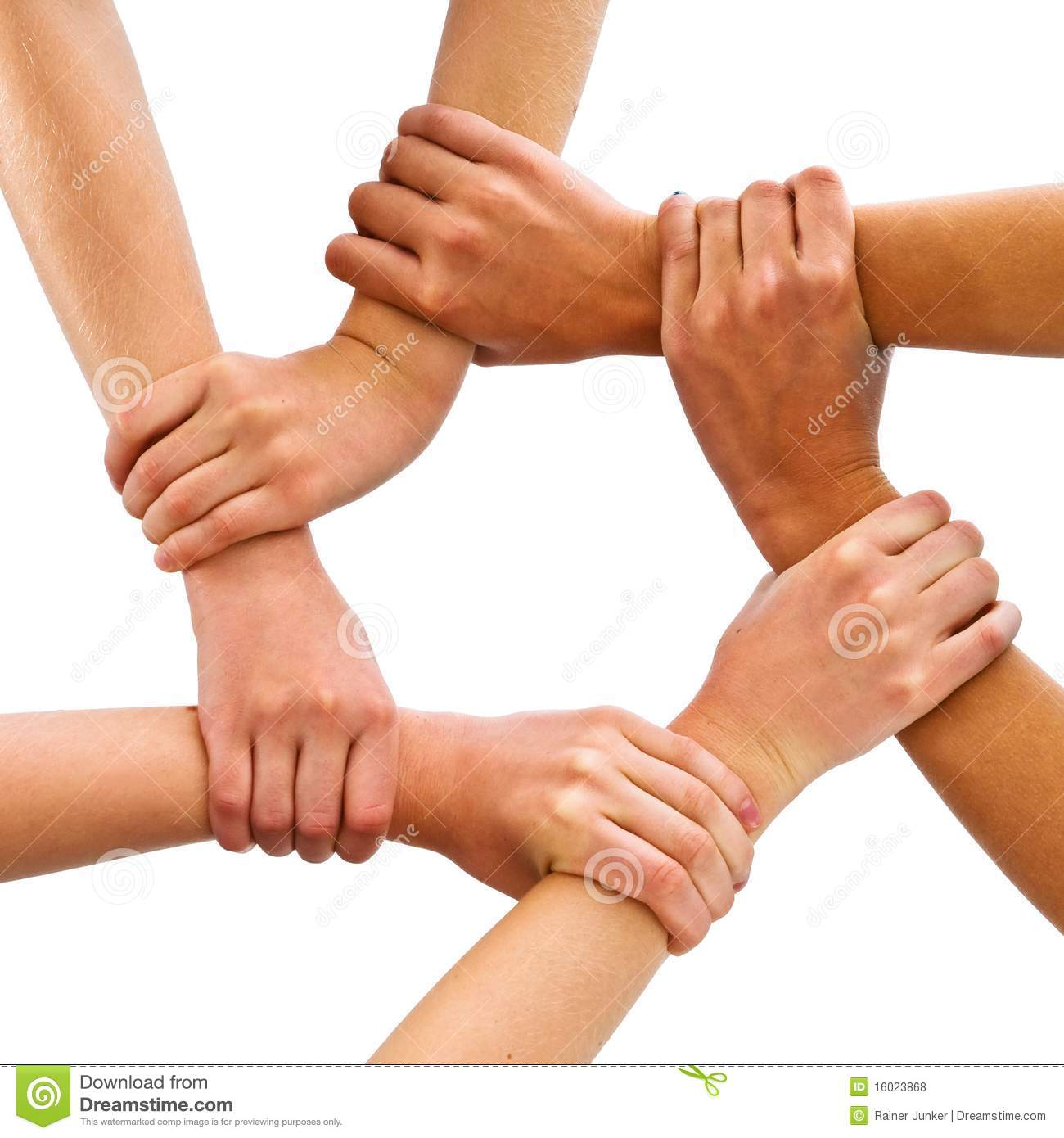 The picture shows three persons hands and arms together.