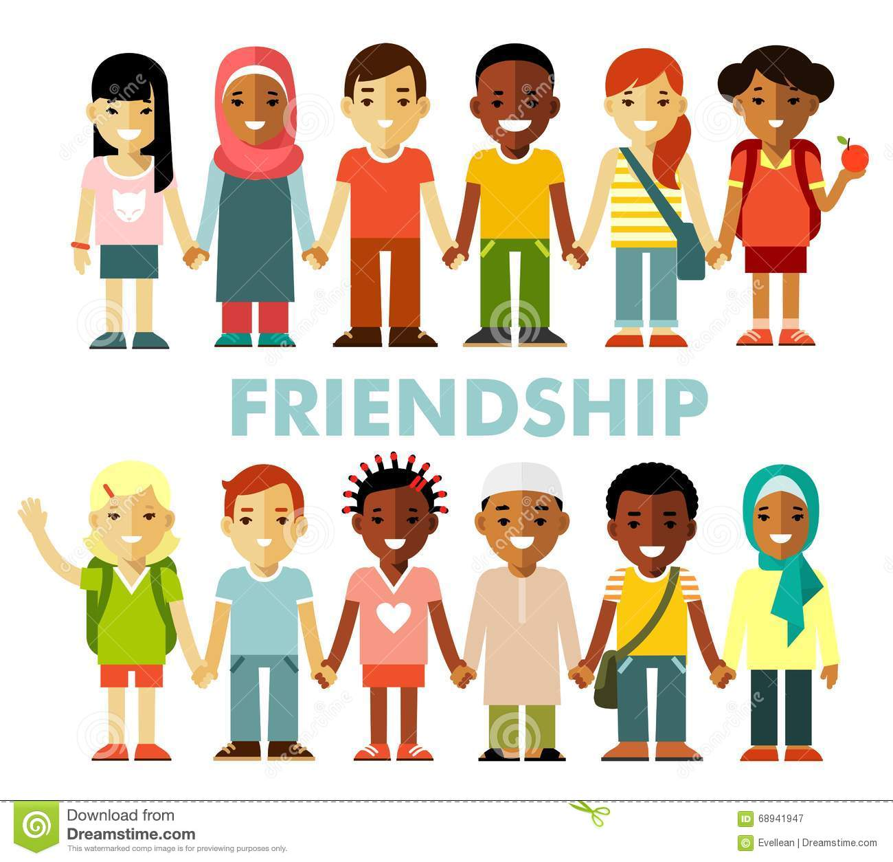 Friendship Concept With Different Multicultural Happy