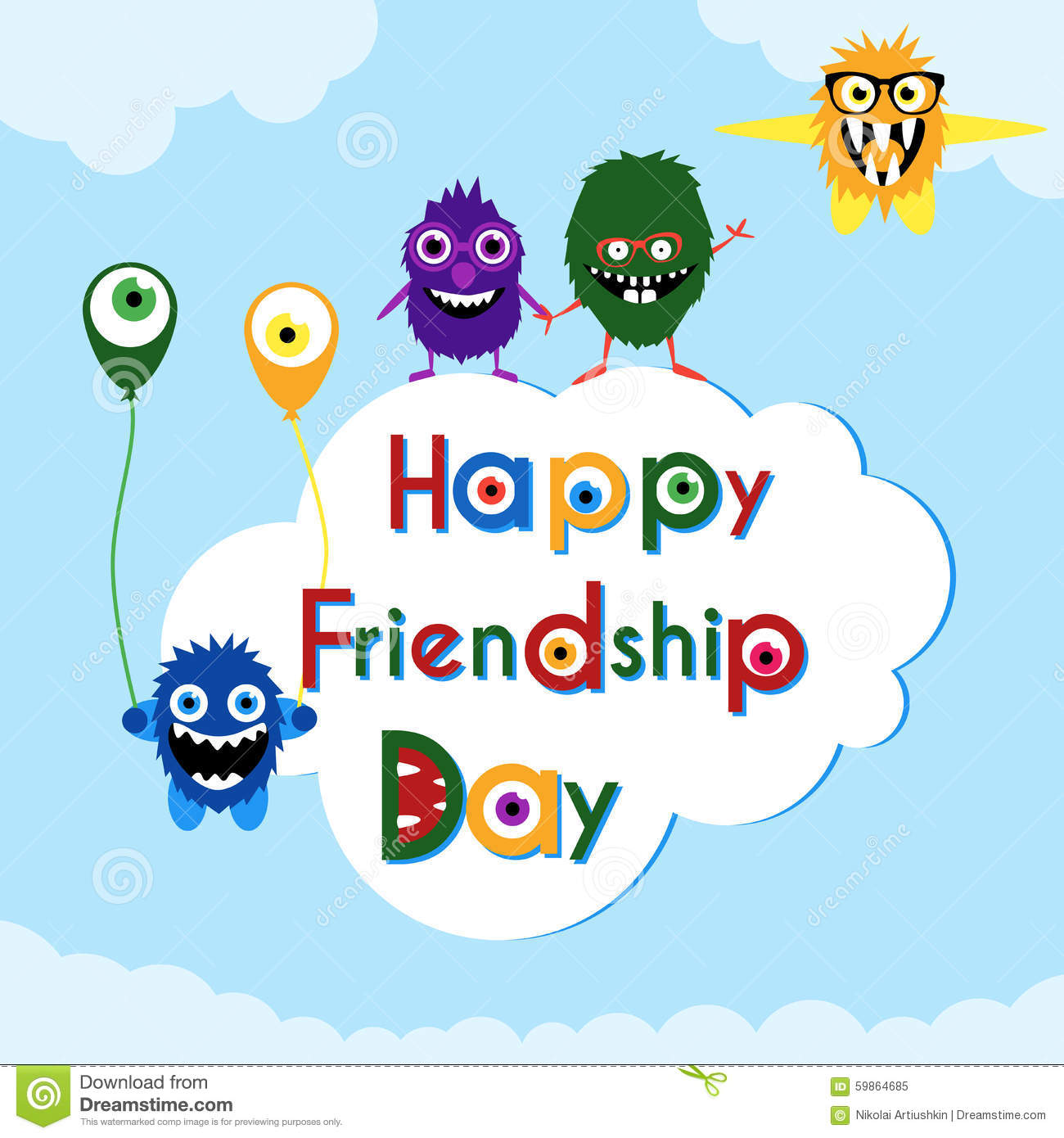 Friendship Day Greeting Card With Cute Monsters Stock Vector