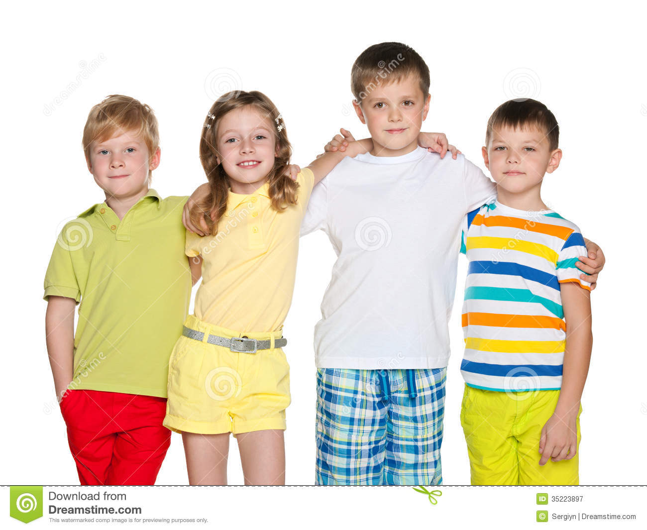 Friendship Of Four Children Royalty Free Stock Photography - Image ...