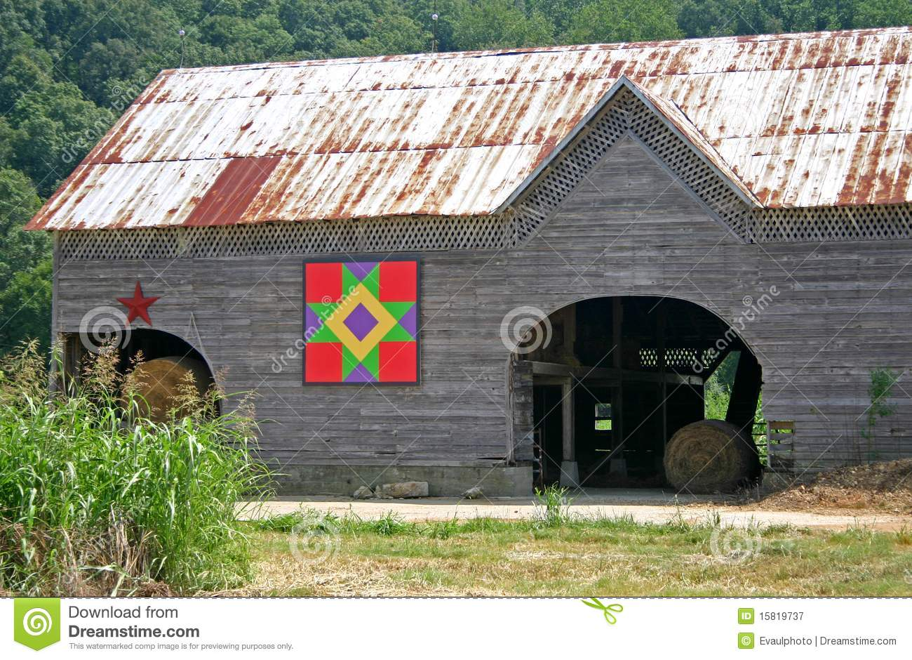 Friendship Star Quilt Barn Stock Image Image Of Country 15819737