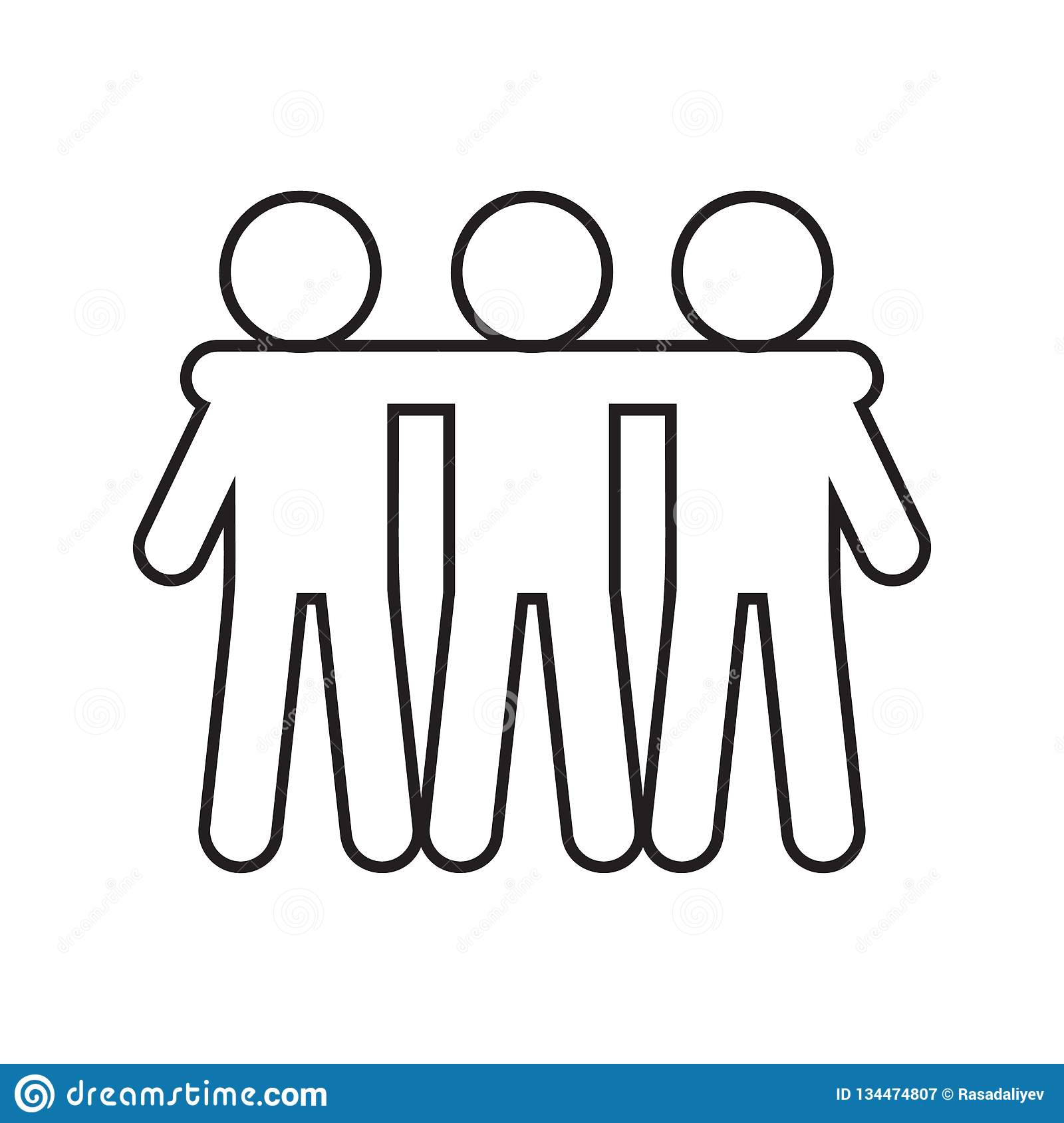 Friendship of three icon. Element of Conversation and Friendship for mobile concept and web apps icon. Thin line icon for website. Design and development, app vector illustration